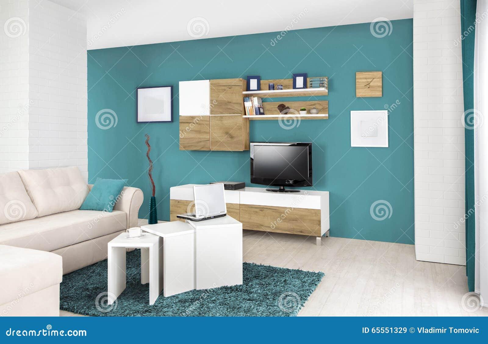 Binnenland van een moderne woonkamer in kleur stock foto ...