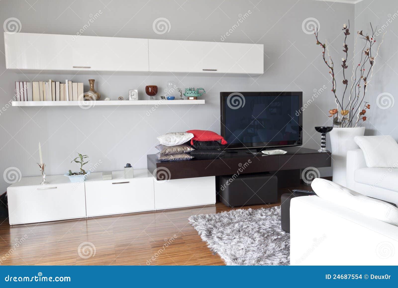 Binnenland van een woonkamer vlak tv wit meubilair stock afbeeldingen afbeelding 24687554 - Meubilair tv industrie ...
