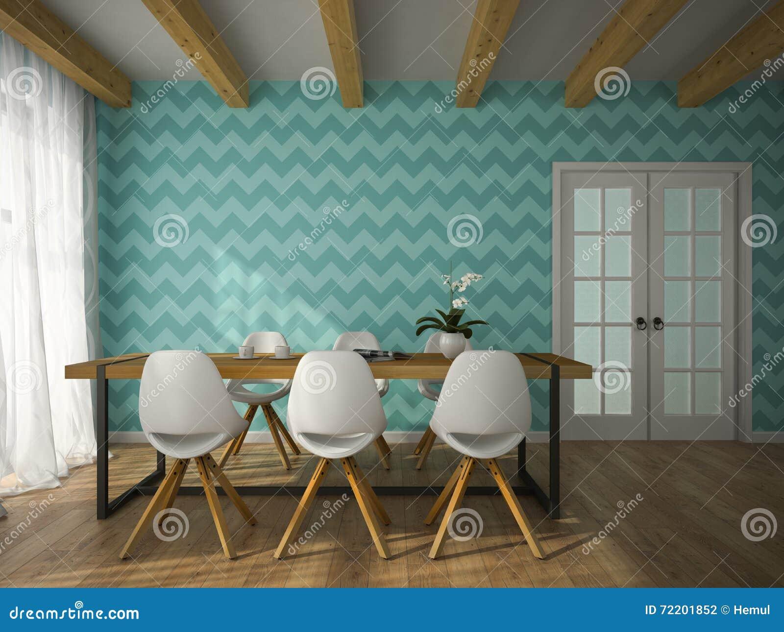 Binnenland van eetkamer met het blauwe behang d teruggeven stock