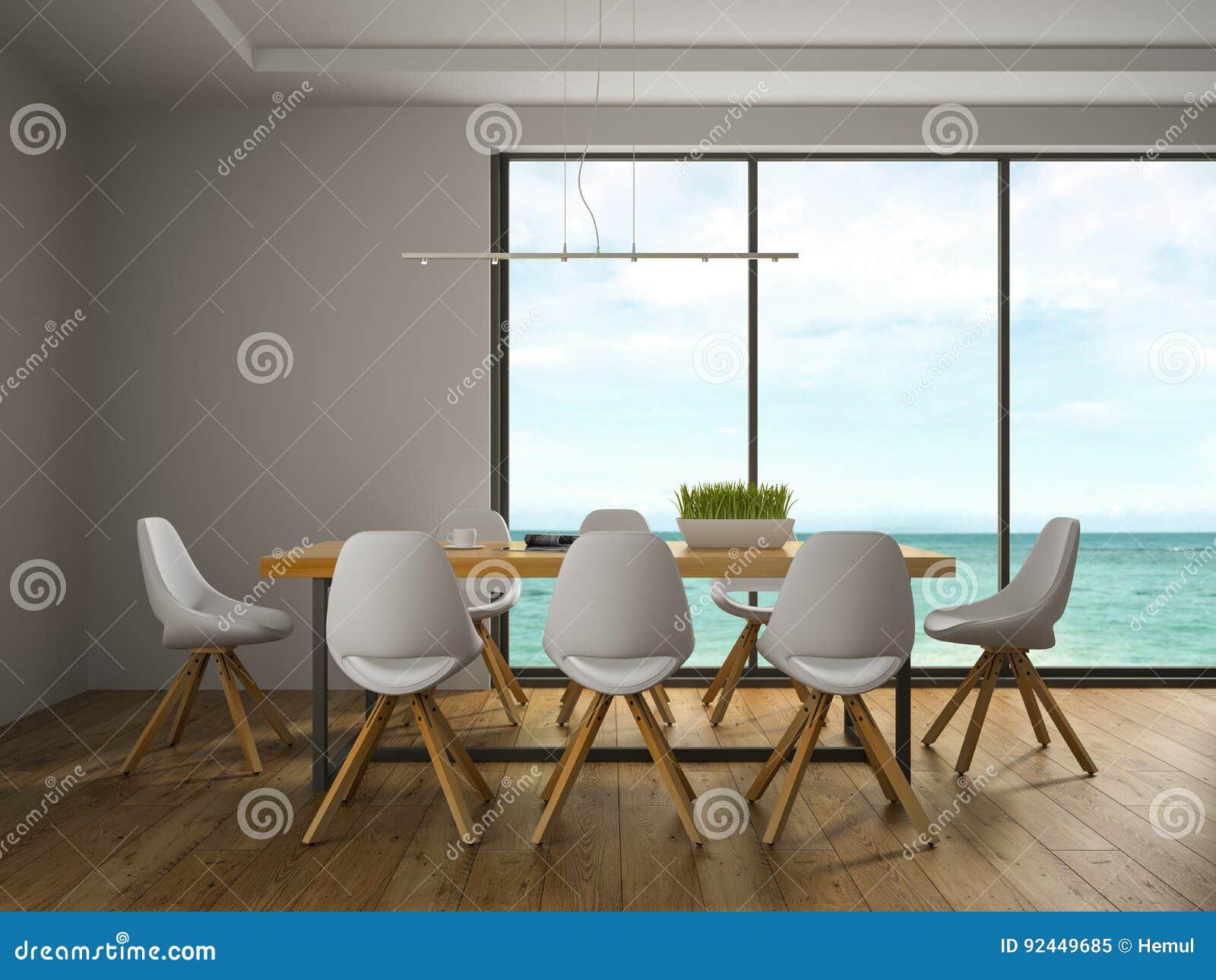 Binnenland van eetkamer met witte stoelen stock afbeelding