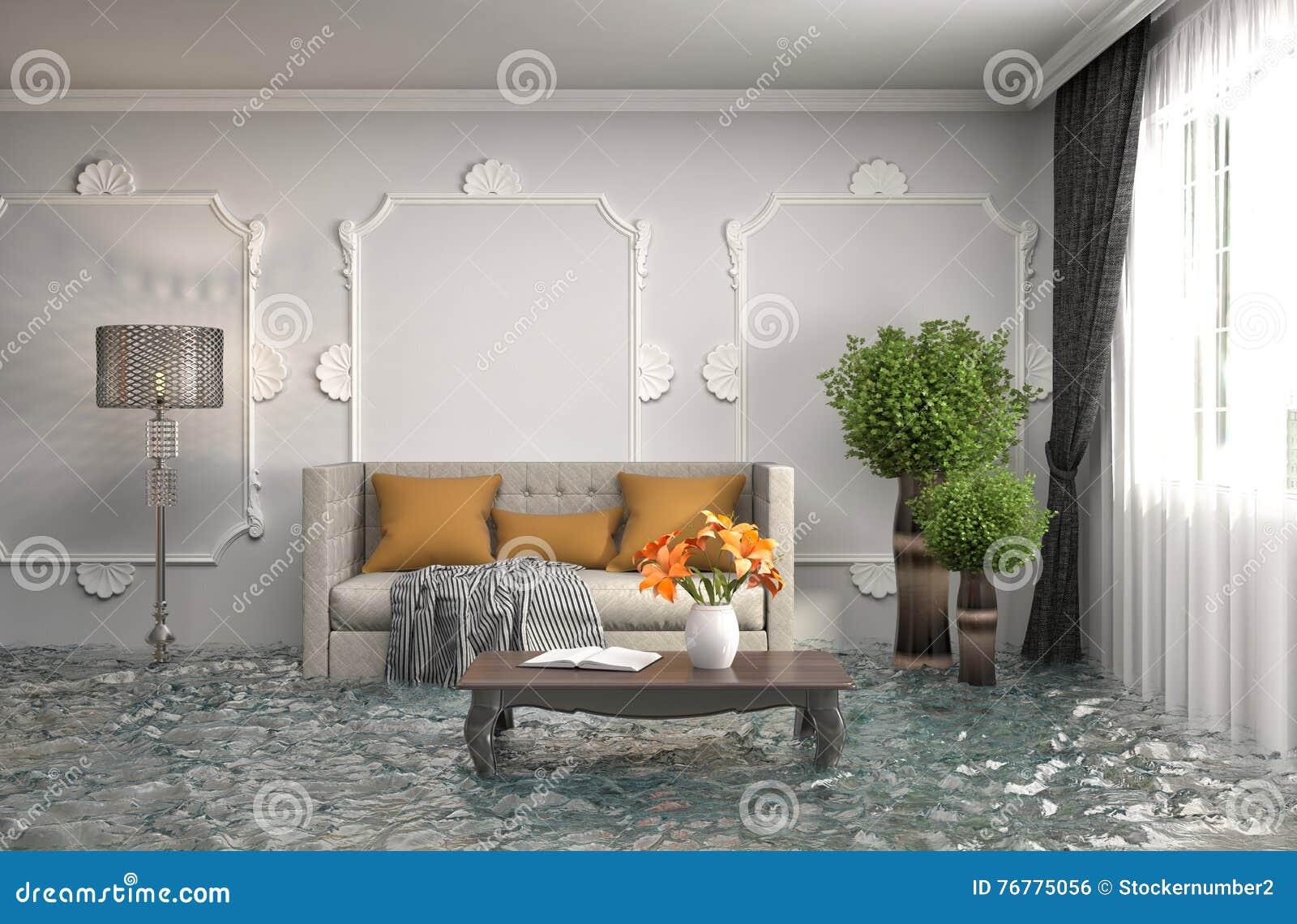 Binnenland van het huis met water wordt overstroomd dat 3D Illustratie