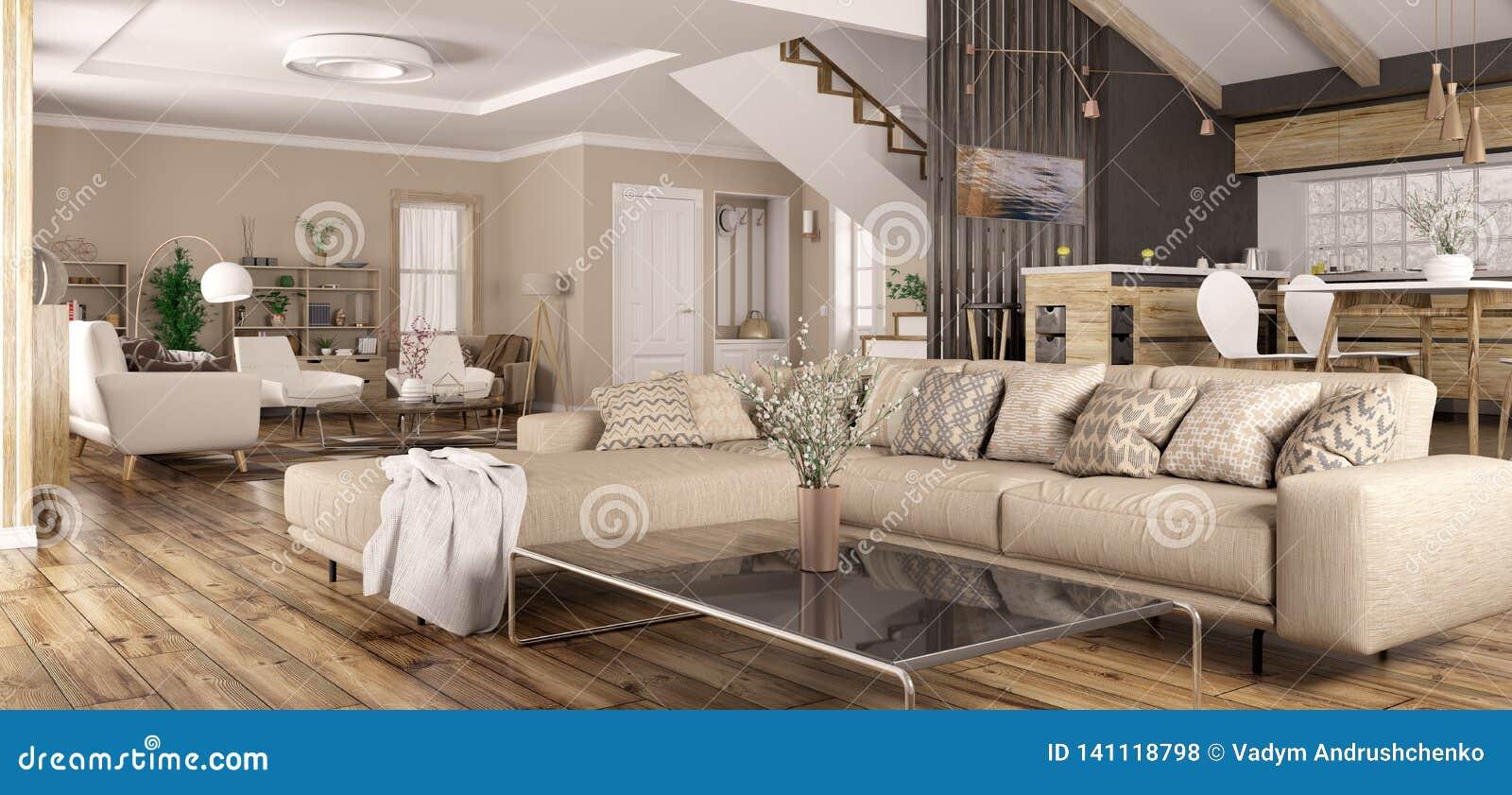 Binnenland van het moderne huispanorama 3d teruggeven