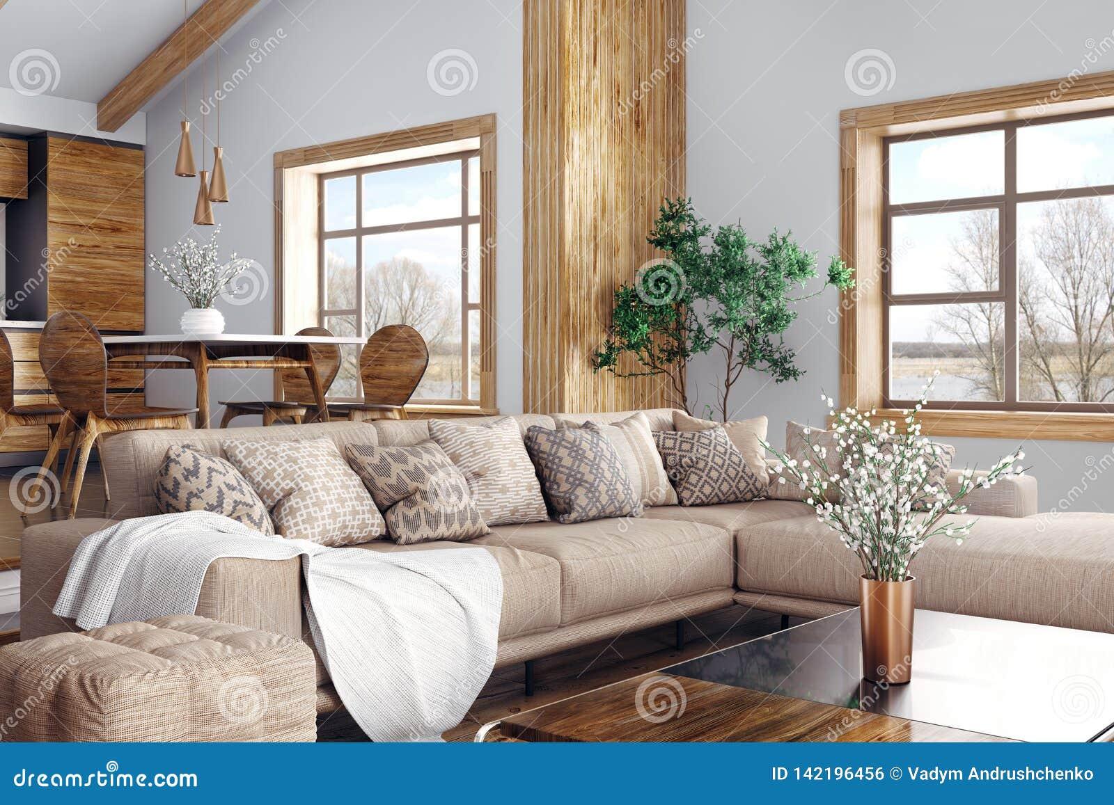 Binnenland van het moderne woonkamer en keuken 3d teruggeven