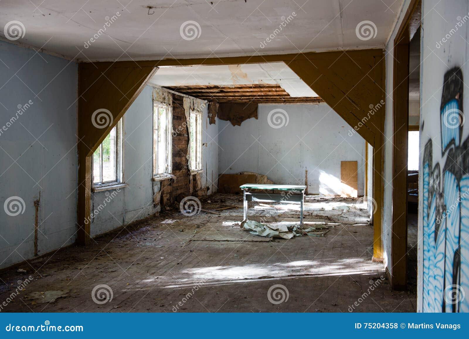 Binnenland van het oud verlaten sovjetziekenhuis