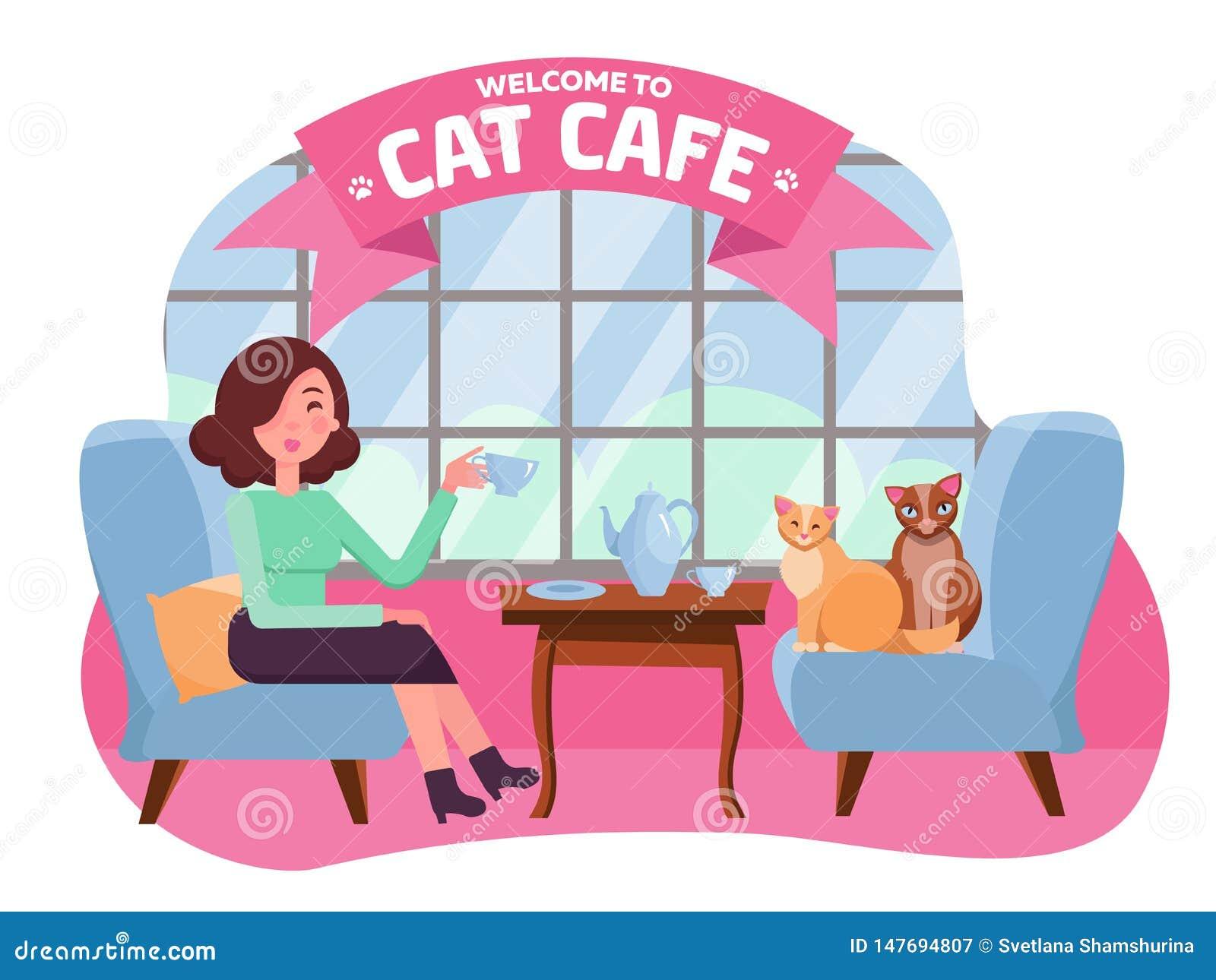 Binnenland van kattenkoffie met groot venster, vrouw en twee Potten in comfortabele leunstoelen Meisje en kattentheekransje Het b