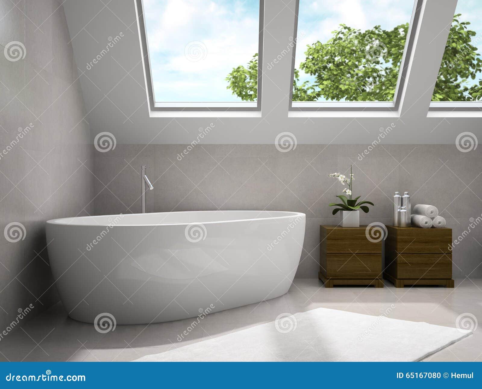 Binnenland van moderne badkamers met het houten kasten d
