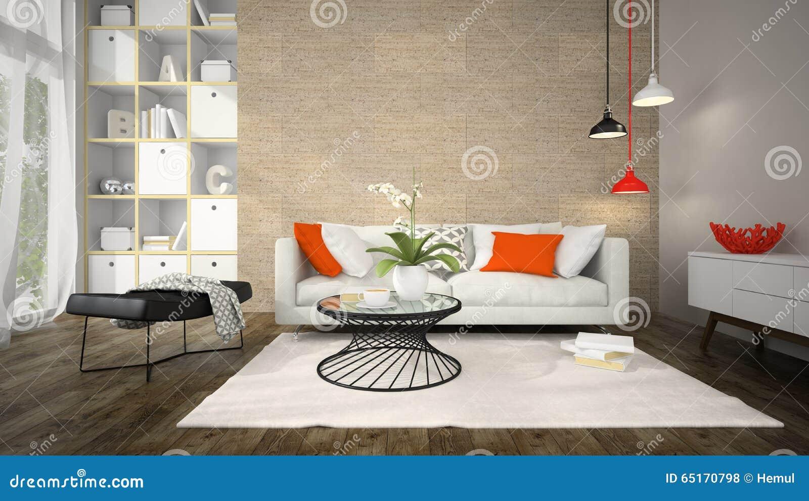 Binnenland van moderne ontwerpruimte met cork muur het 3D teruggeven