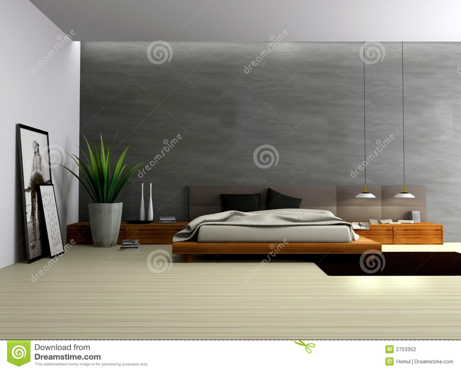Binnenland van moderne slaapkamer stock fotografie beeld 2753352 - Moderne design slaapkamer ...