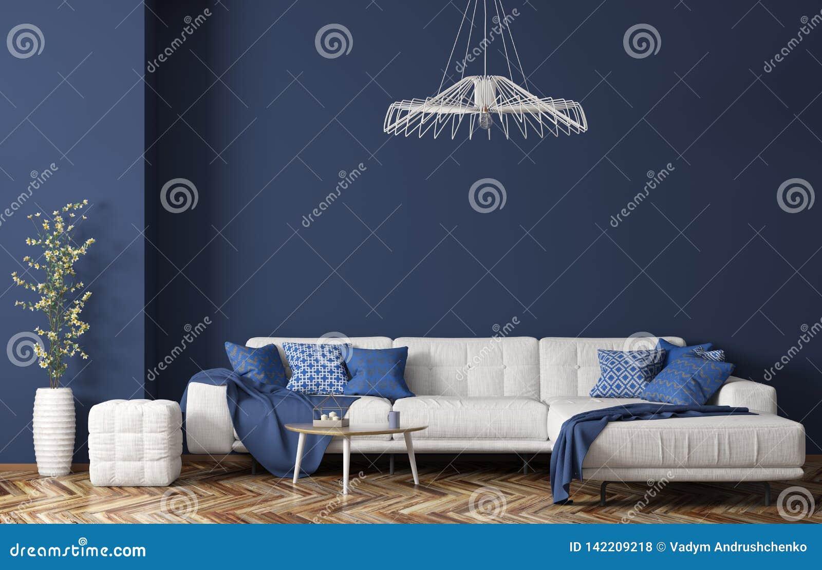 Binnenland van moderne woonkamer met witte stoffenbank over het blauwe muur 3d teruggeven