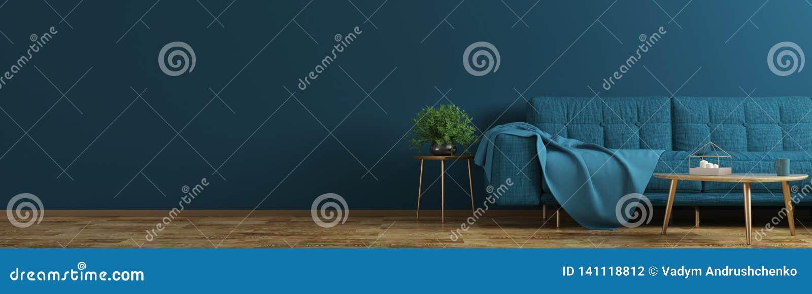 Binnenland van woonkamer met blauwe bank, houten koffietafel, vaas met takpanorama het 3d teruggeven