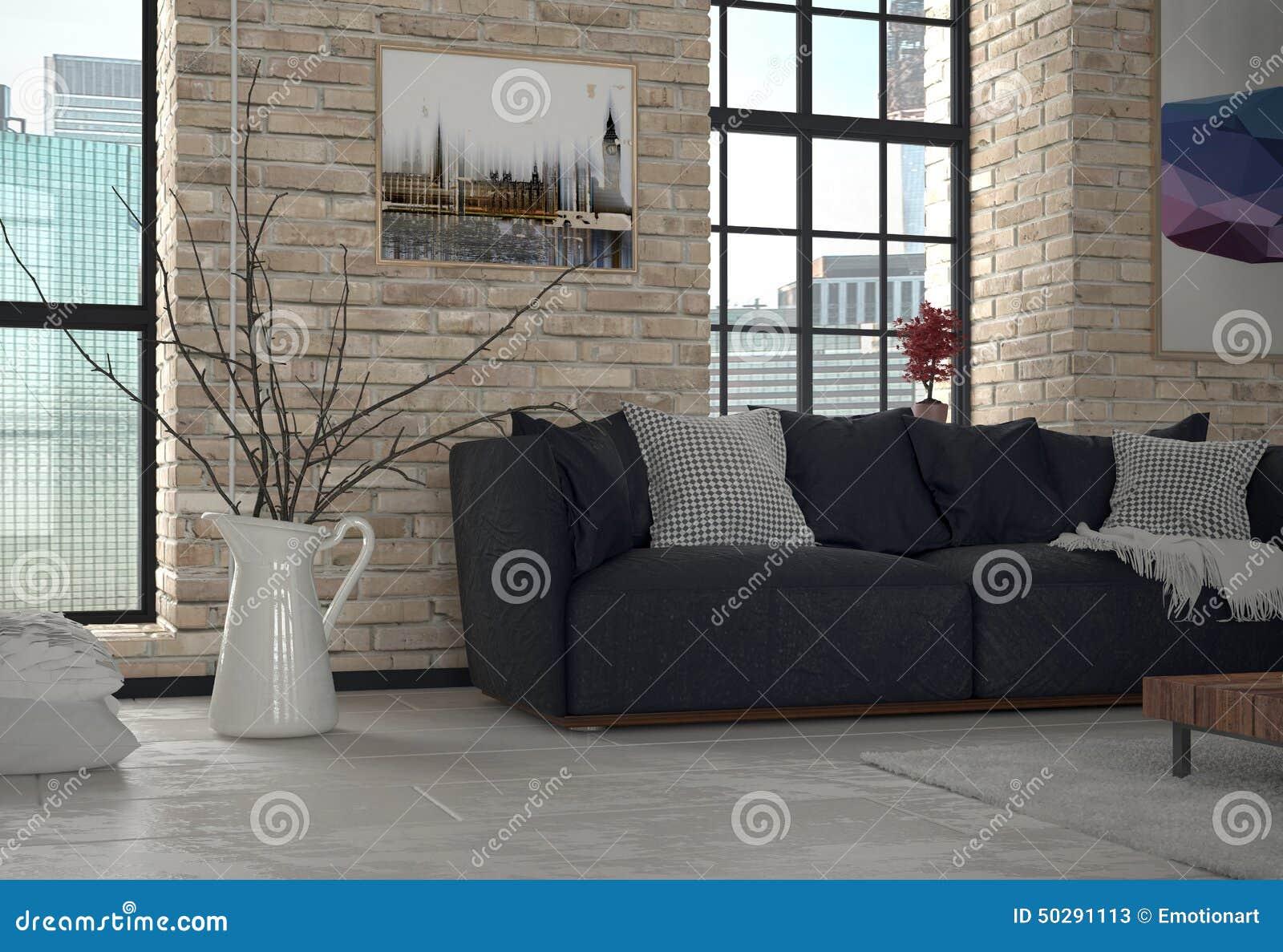 Binnenland van woonkamer met blootgestelde bakstenen muur stock ...
