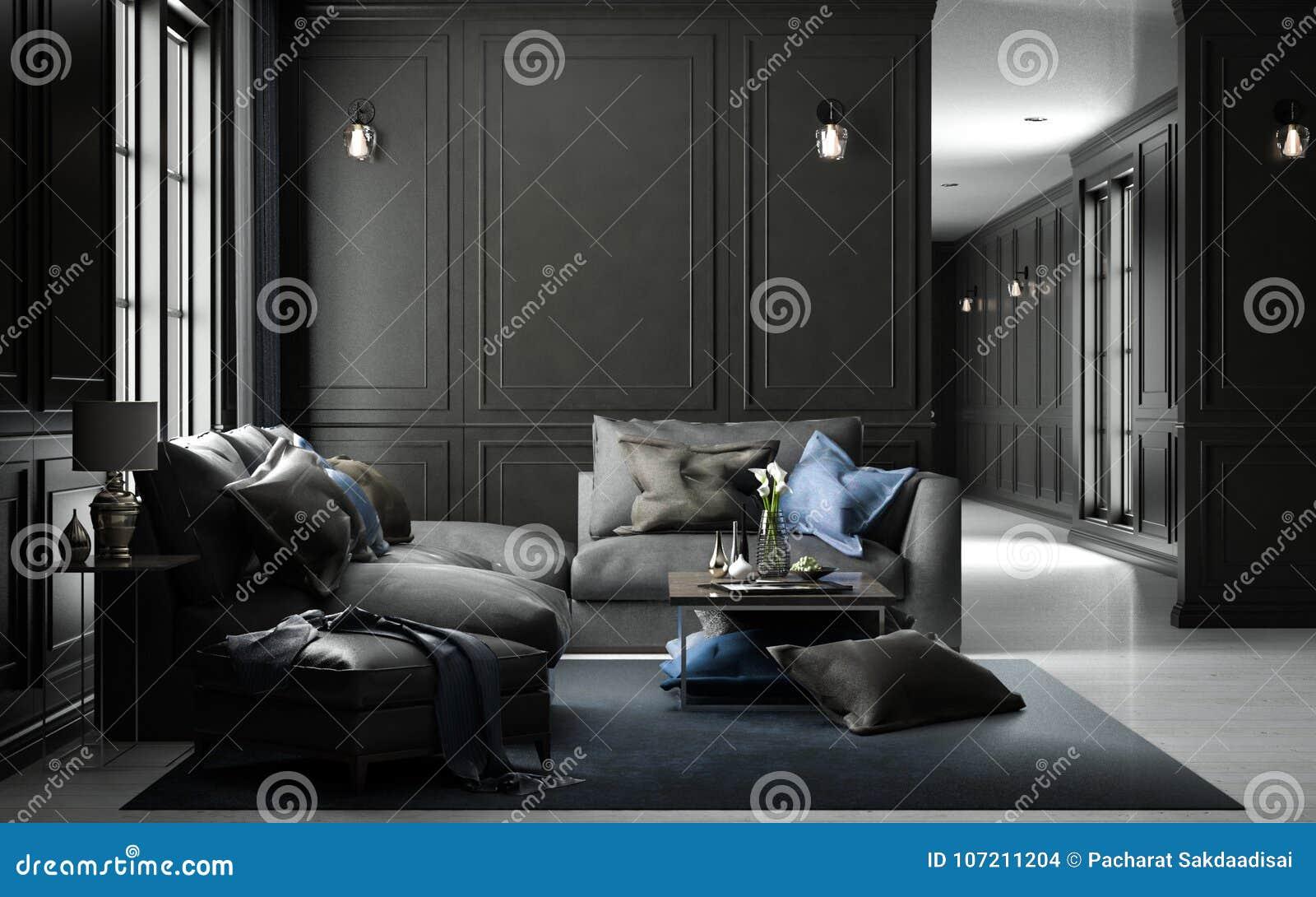 Binnenlands het leven studiomodel, zwarte klassieke stijl, 3D renderin