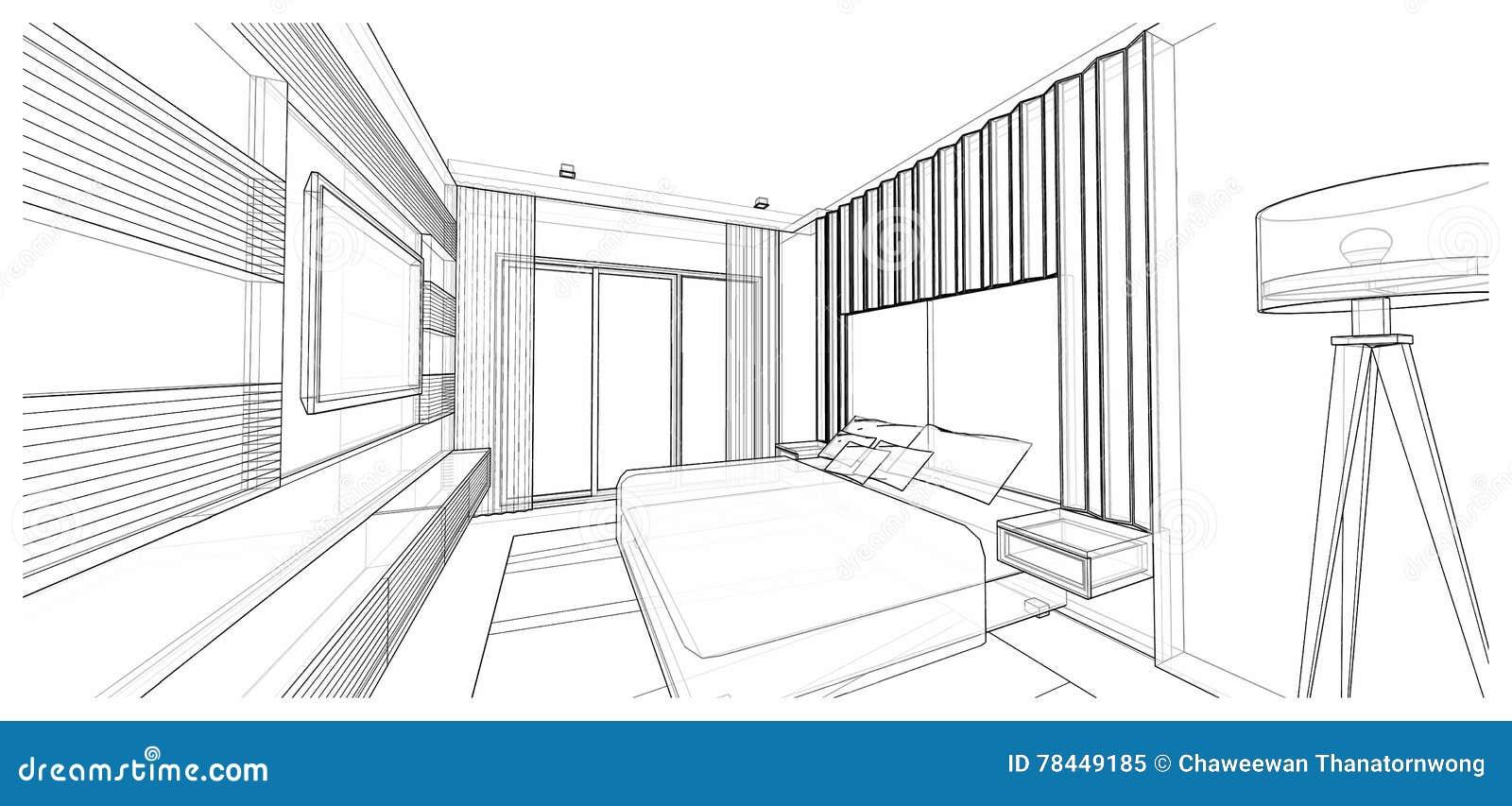 binnenlands ontwerp van moderne stijlslaapkamer 3d schets van het draadkader perspectief