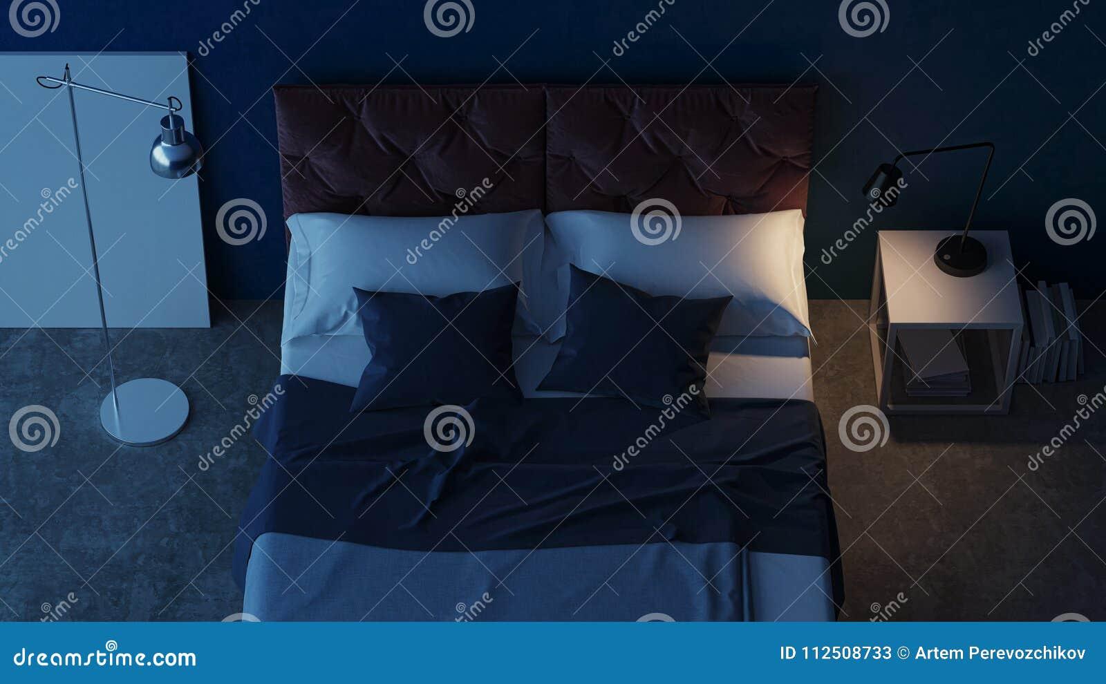 Binnenlands Ontwerp Van De Slaapkamer Met Blauwe Muren Het 3d ...