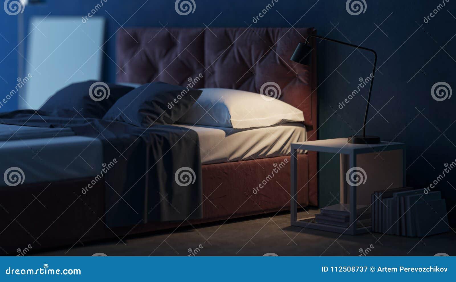 Slaapkamer Slaap Wolken : Binnenlands ontwerp van de slaapkamer met blauwe muren het d
