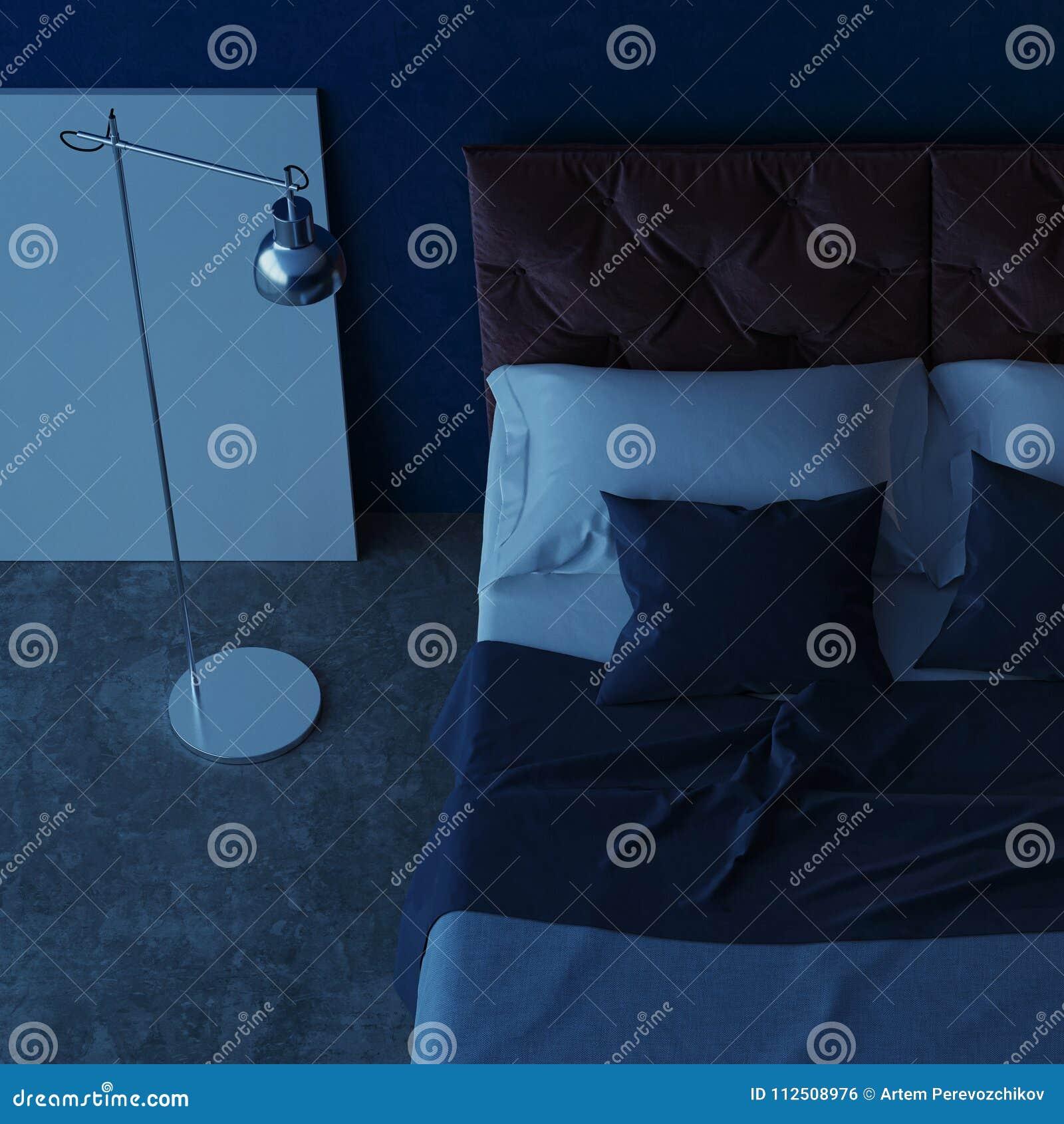 binnenlands ontwerp van de slaapkamer met blauwe muren avondverlichting nacht het 3d teruggeven