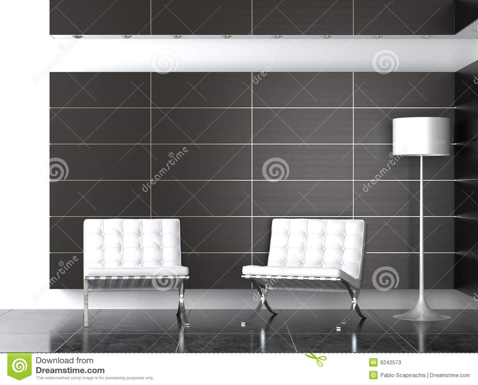 Binnenlands ontwerp van moderne ontvangst B&W