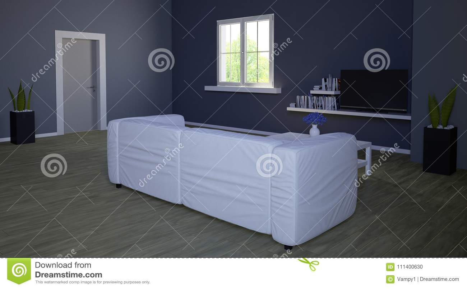 binnenlands ontwerp woonkamer en modern meubilair blauwe muur die venster een park overzien