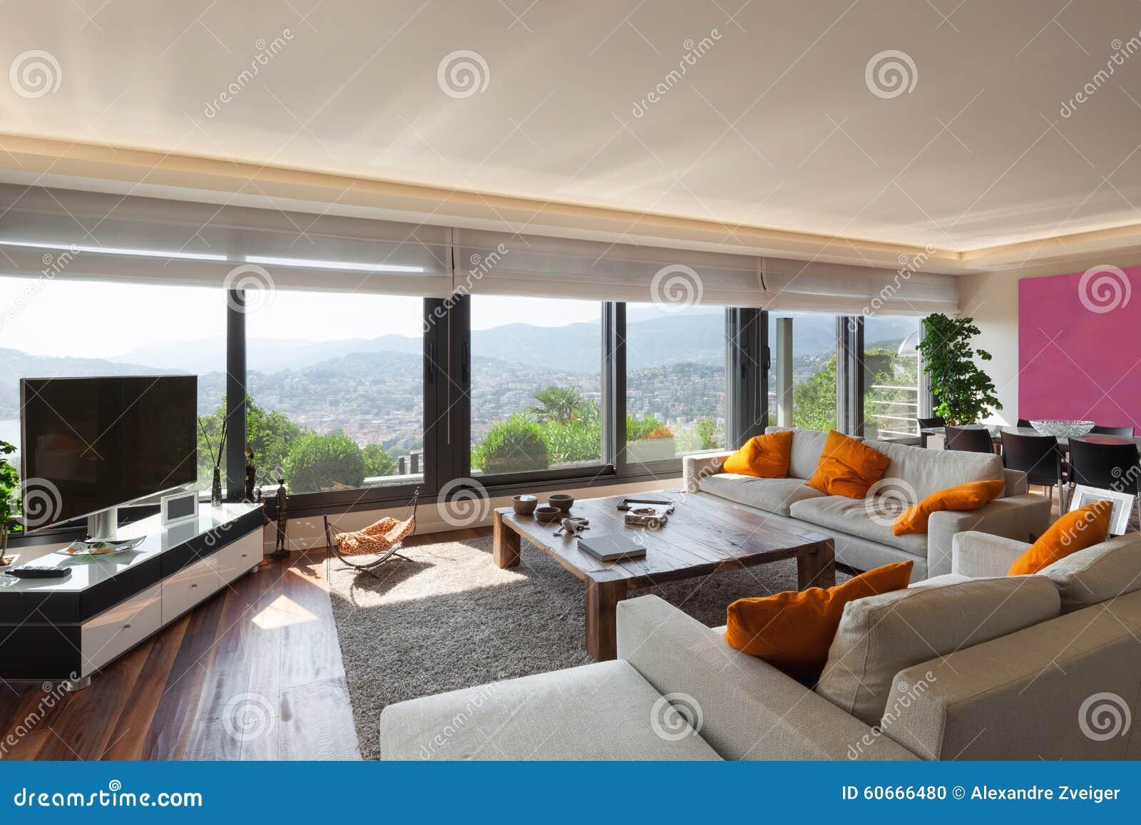 binnenlandse, mooie woonkamer stock foto - afbeelding: 60666480, Deco ideeën