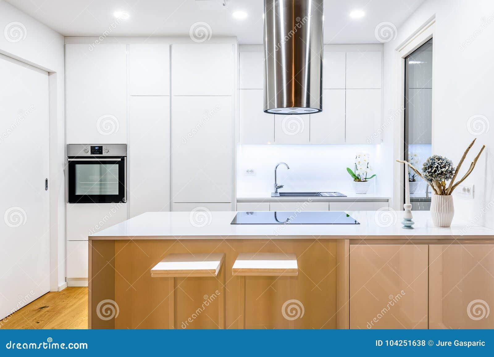 Binnenlandse ontwerp nieuwe moderne witte keuken met keukentoestellen