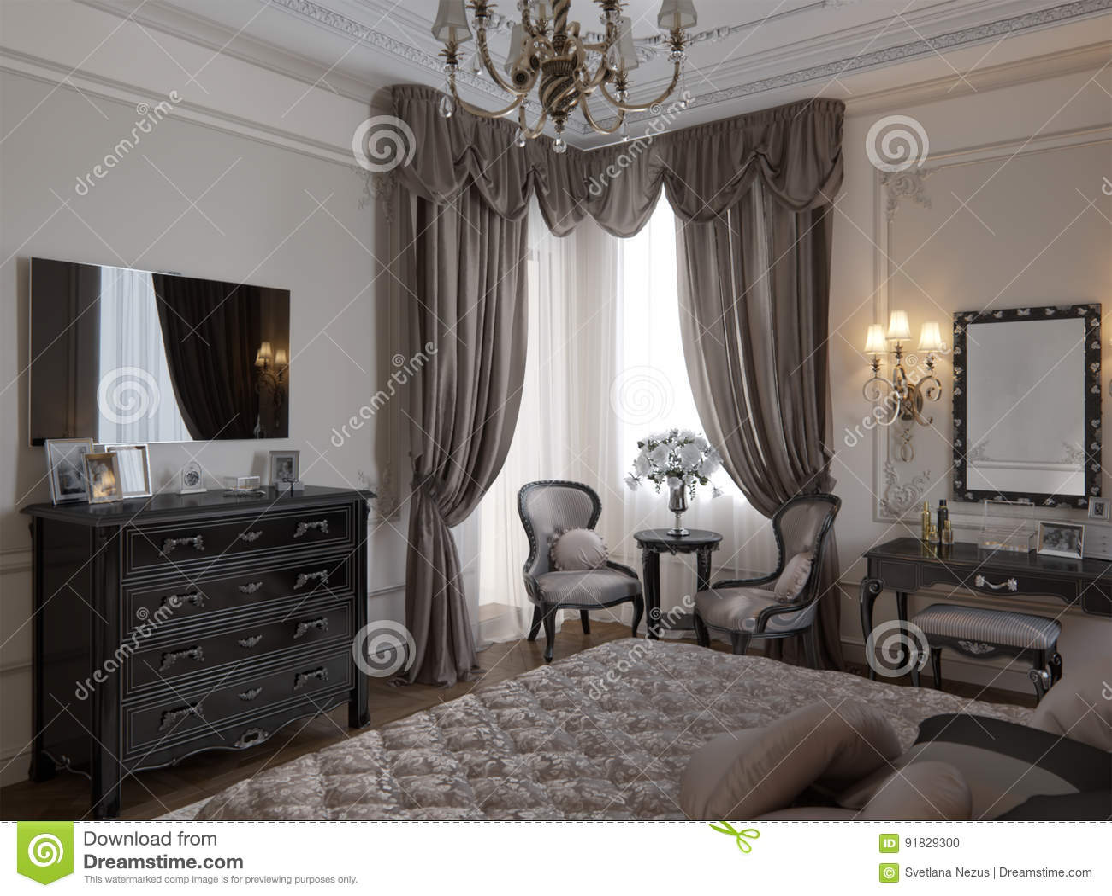 binnenlandse ontwerp van de luxe het klassieke moderne slaapkamer