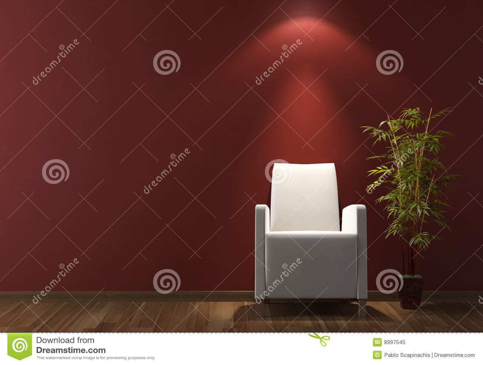 Binnenlandse ontwerp witte laag op bordeaux muur royalty vrije ...