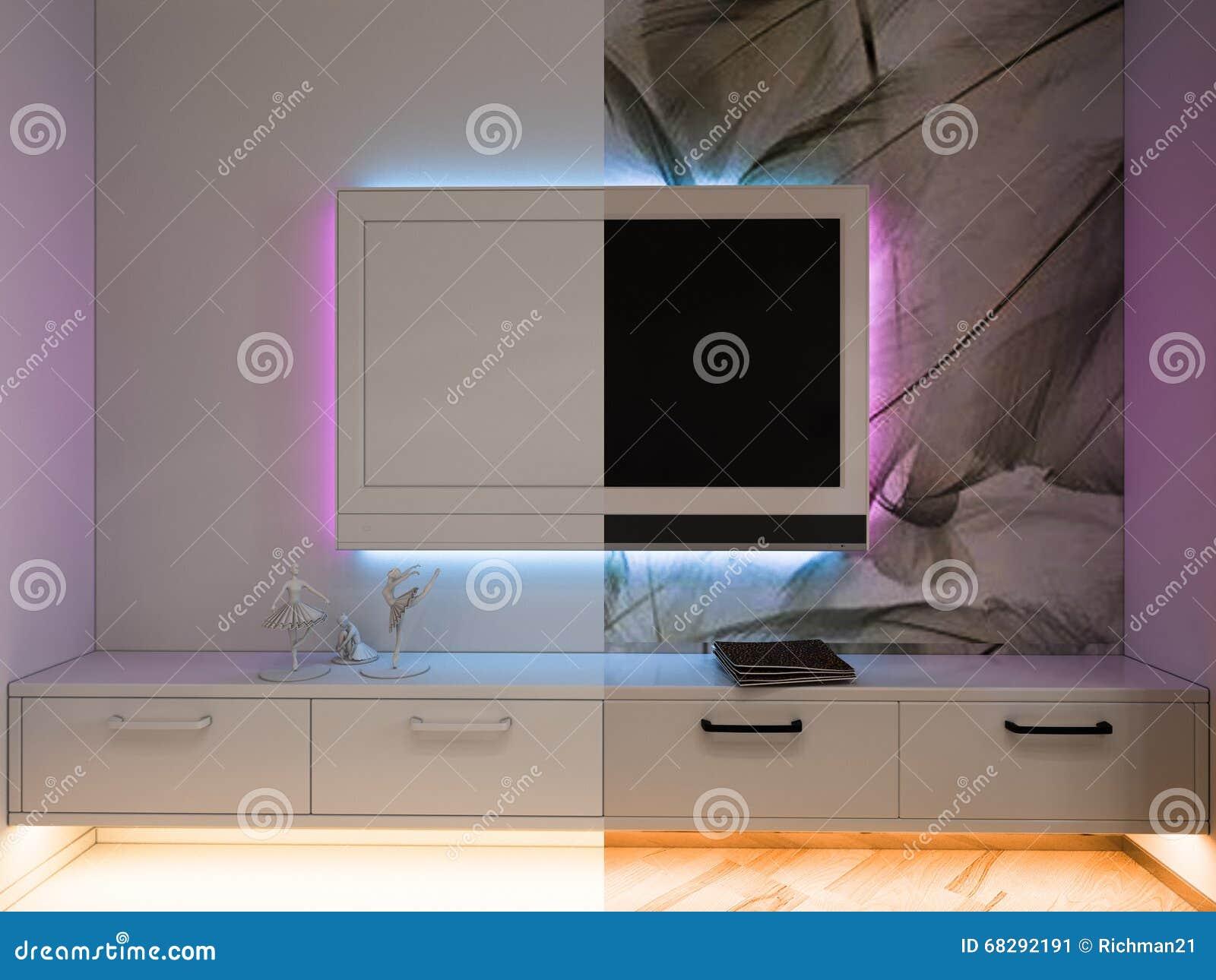 Binnenlandse ontwerpslaapkamer in zwart witte kleuren stock ...