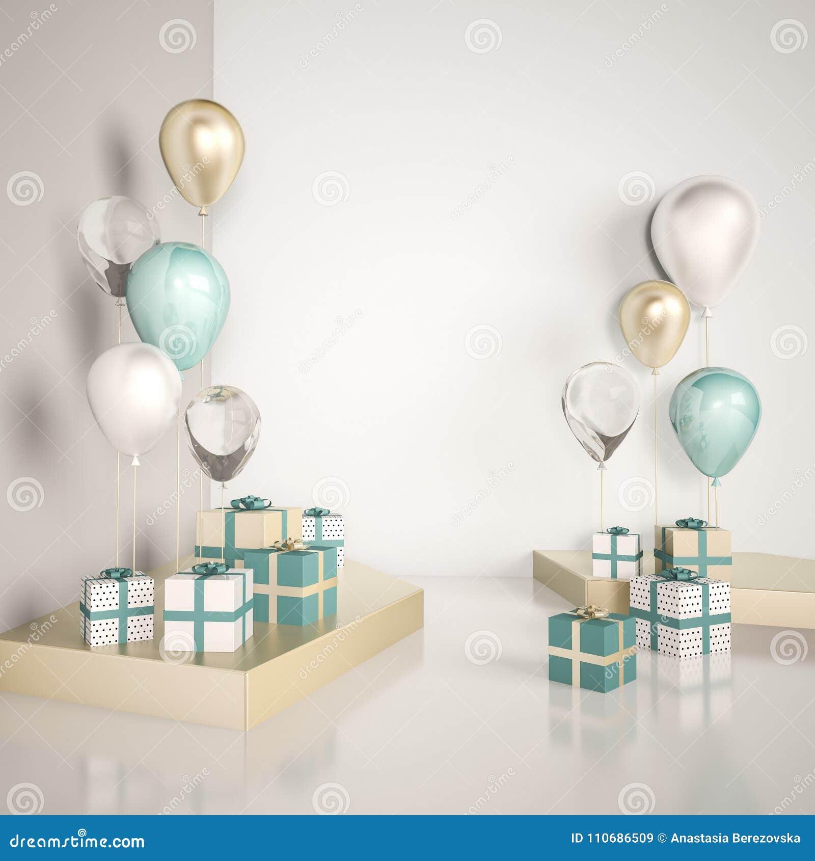 Binnenlandse spot op scène met blauwe en gouden giftdozen en ballons Realistische glanzende 3d voorwerpen voor verjaardagspartij