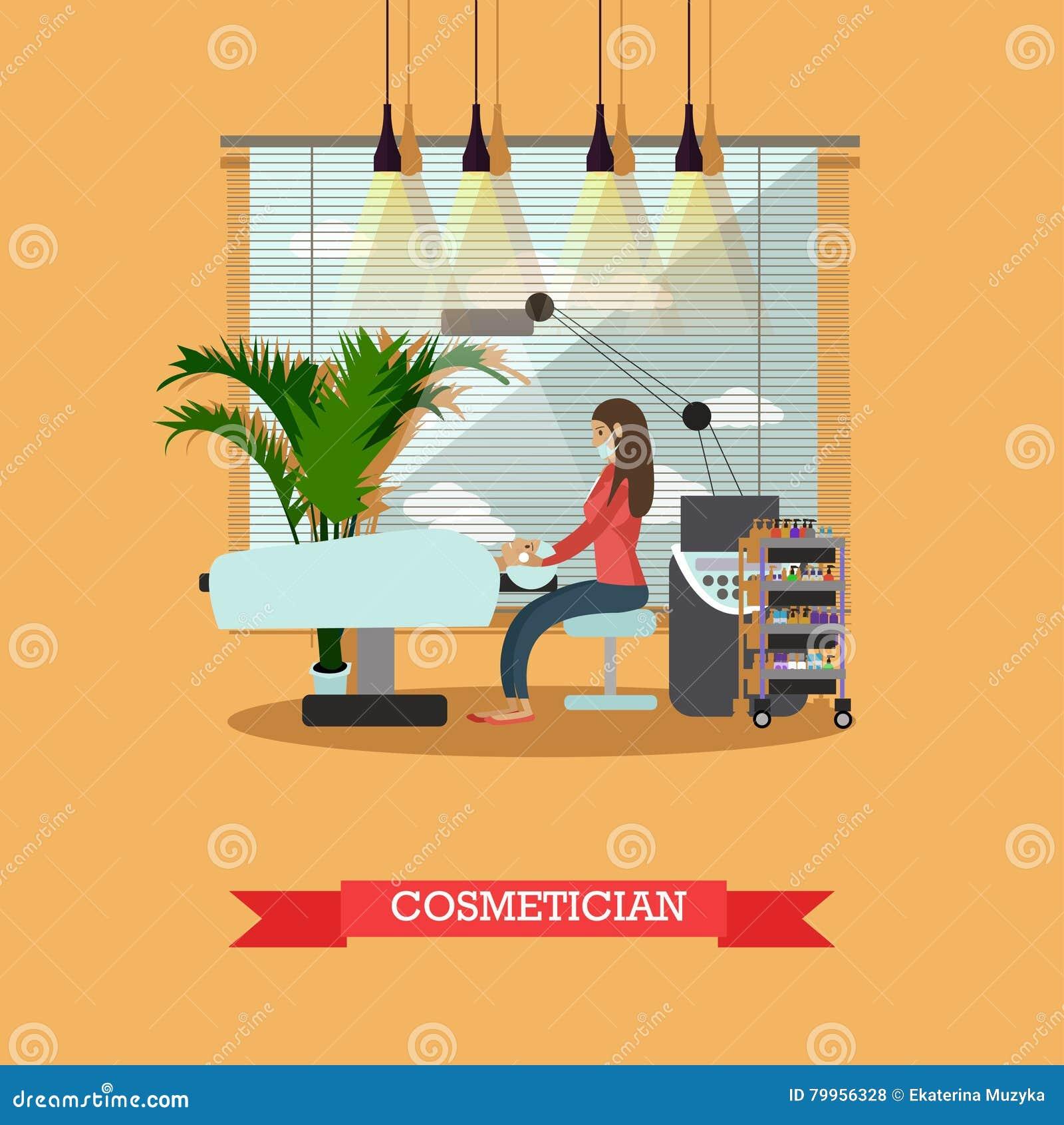 Binnenlandse vector het conceptenbanners van de schoonheidssalon De studio van de huidbehandeling