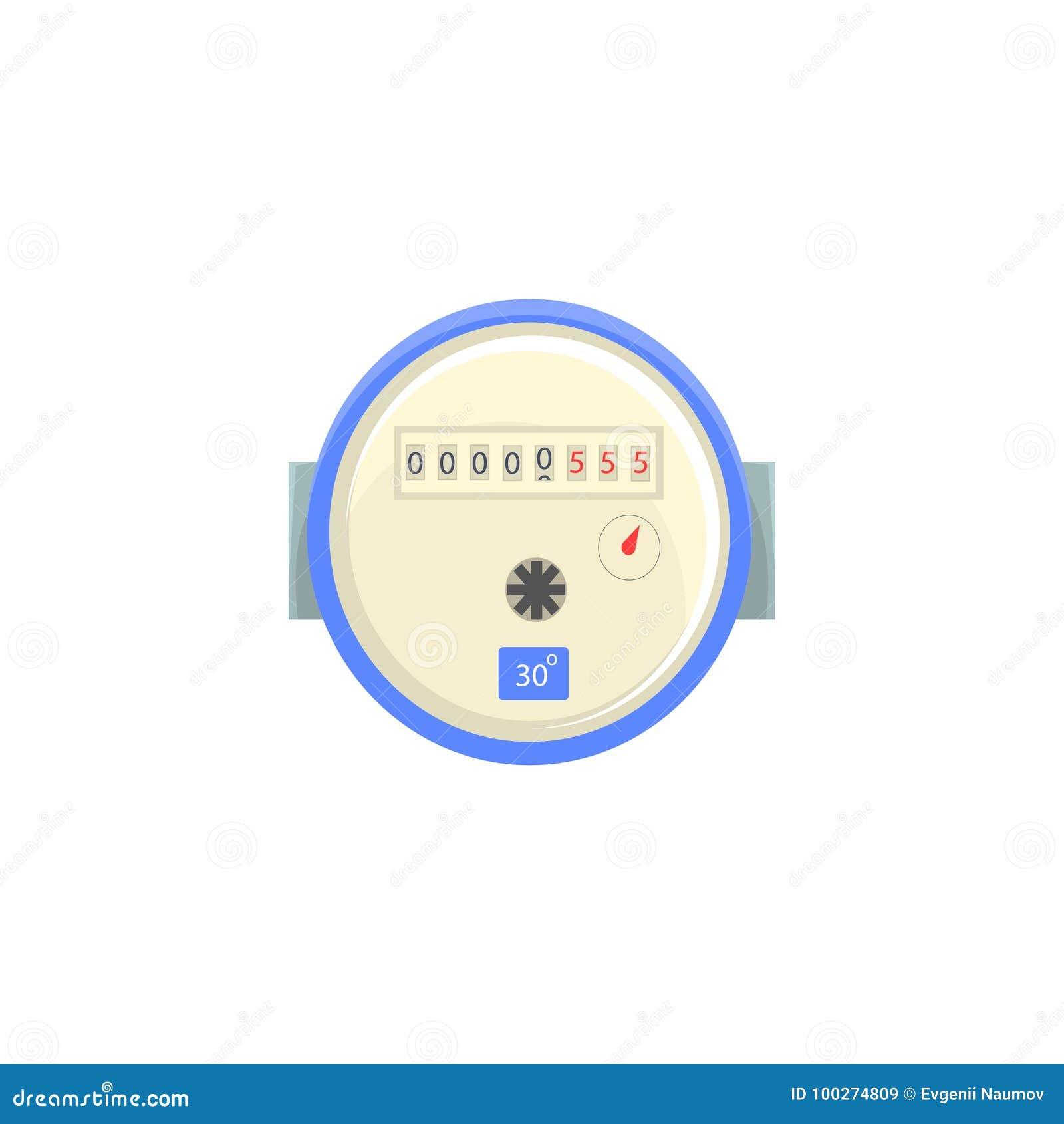 Binnenlandse watermeter, de vectorillustratie van het huishouden meetinstrument