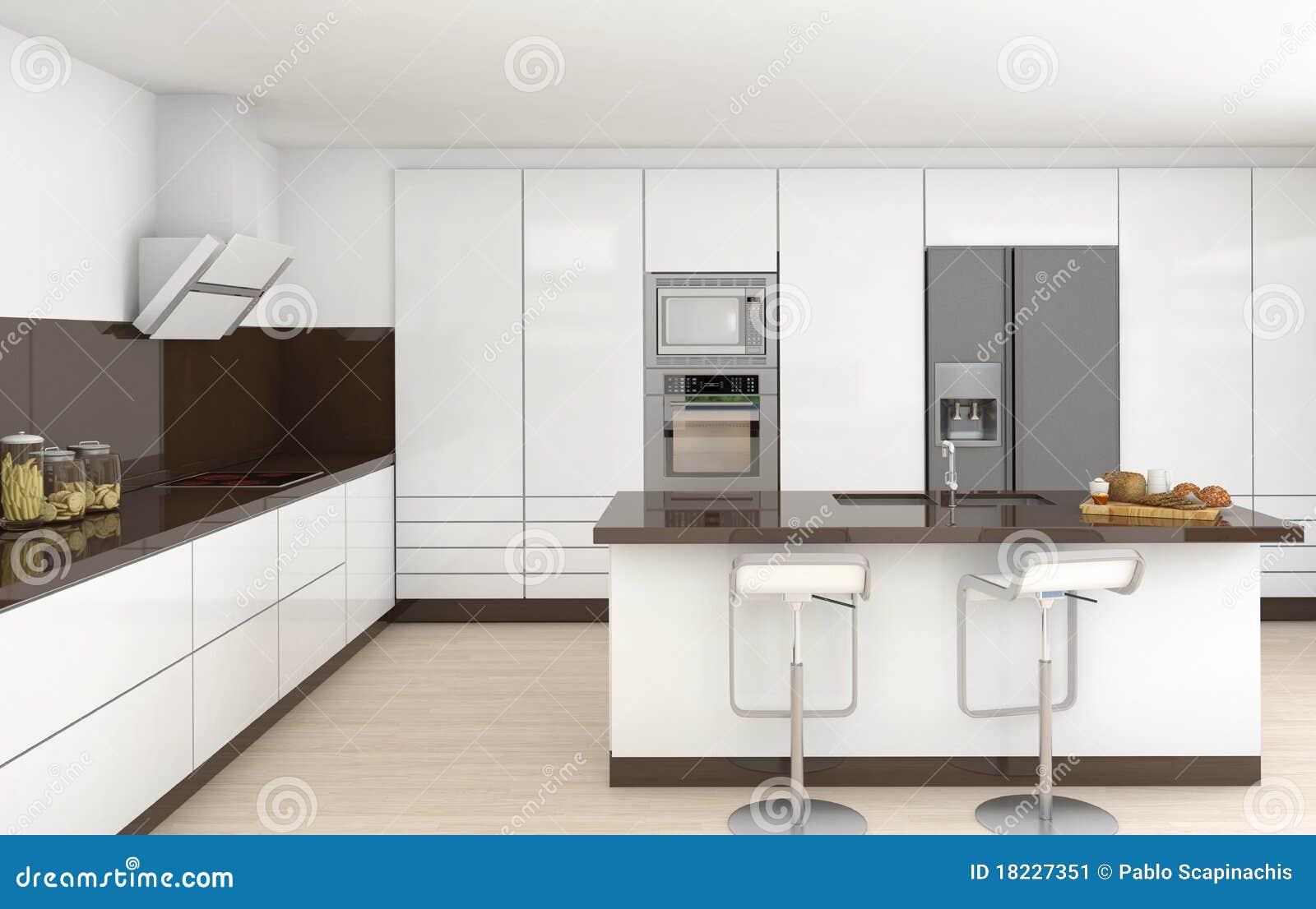 Binnenlandse witte en bruine keuken stock afbeelding   afbeelding ...