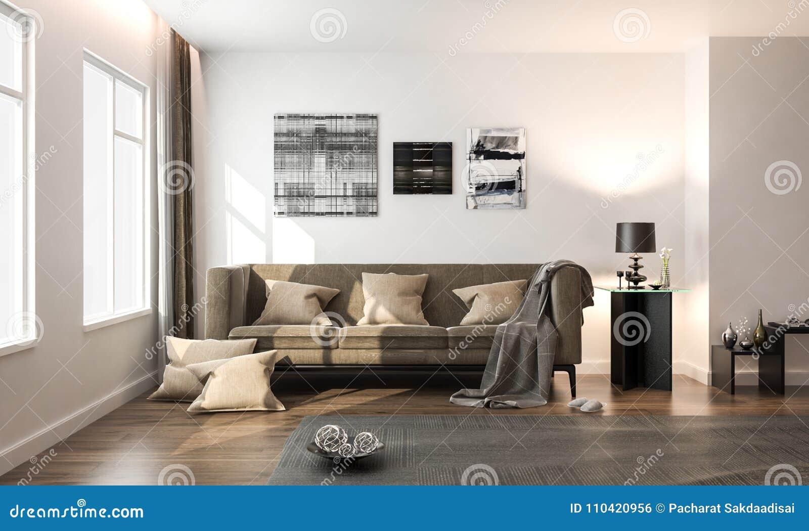 Binnenlandse woonkamer witte moderne stijl met bruine losse bank