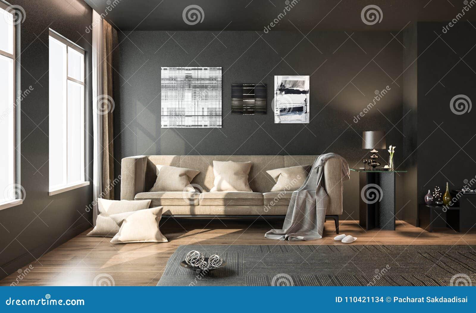 Binnenlandse woonkamer zwarte moderne stijl met bruine losse