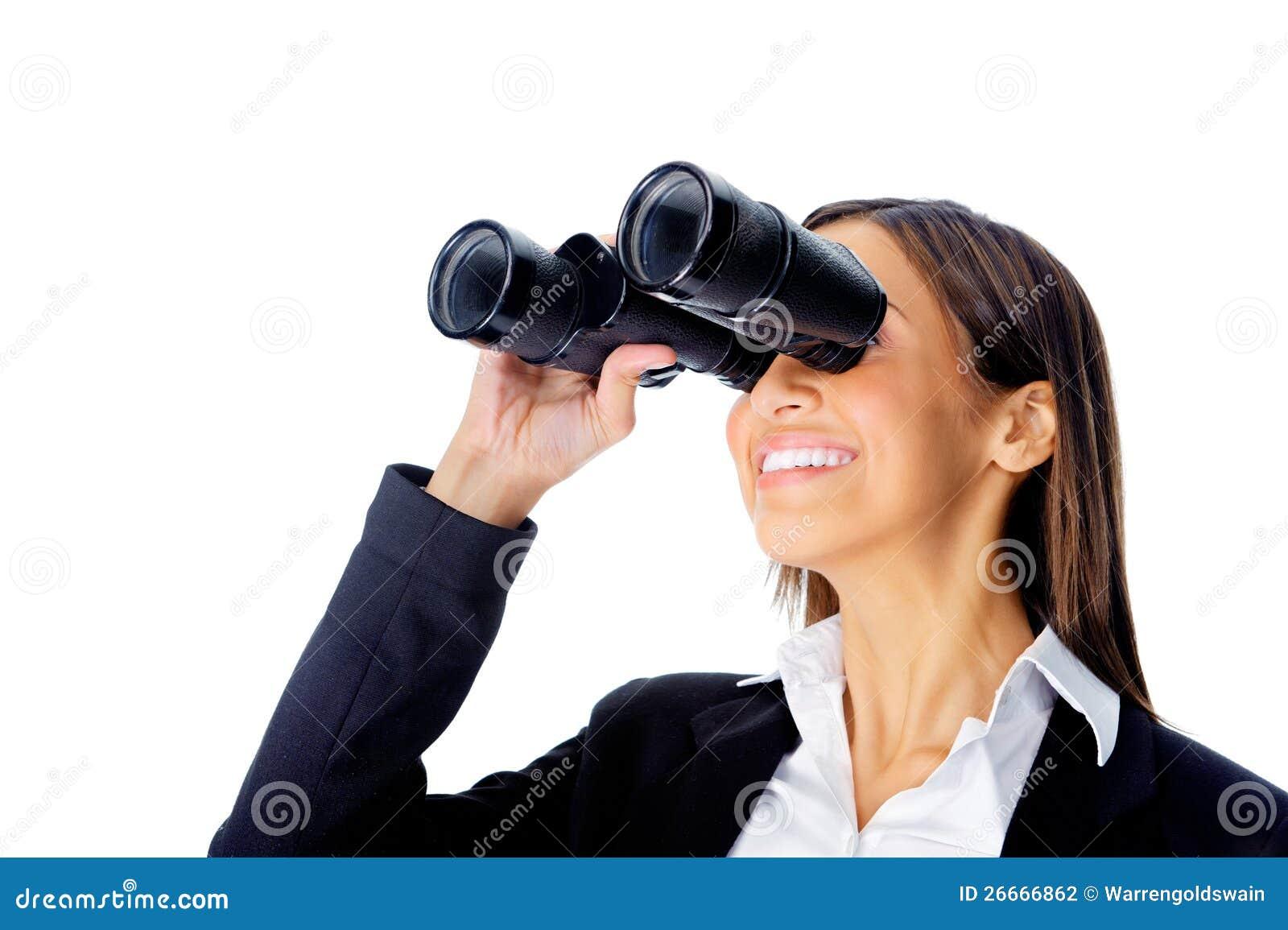 Binocular Business Woman Stock Photo. Image Of Happy