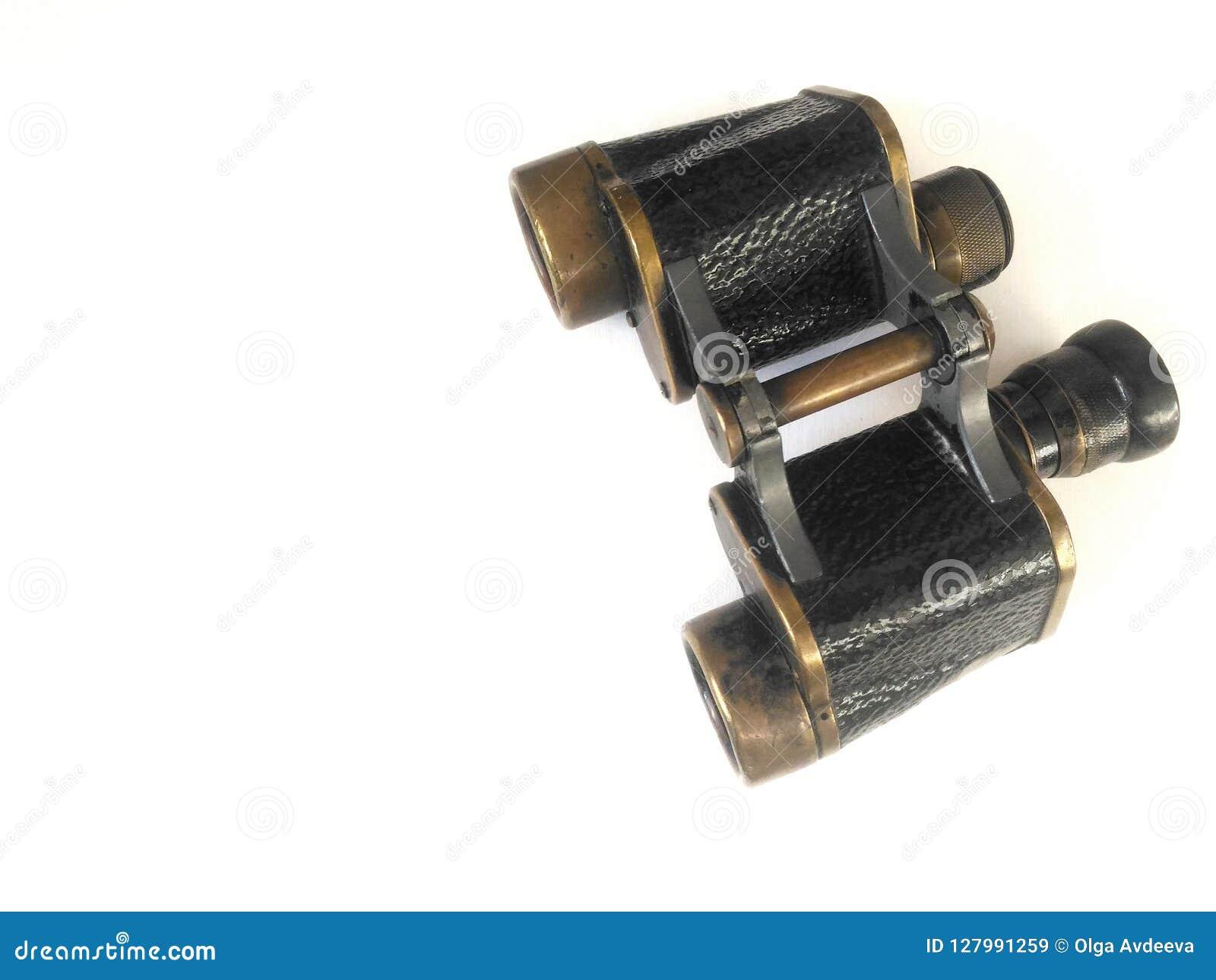 Binoculars Black Old Background Postcard Stock Image - Image of