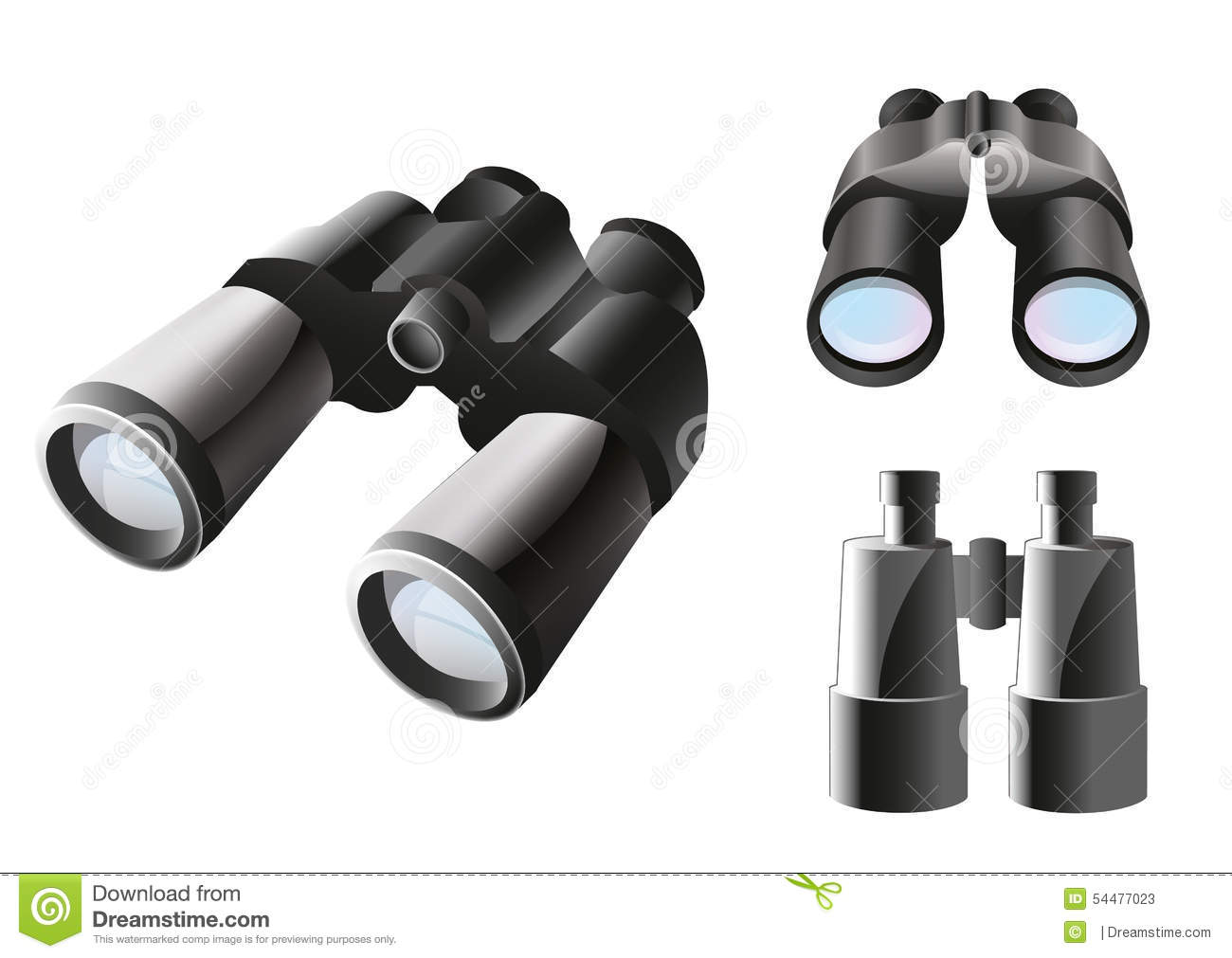 Binoculars Icon Set Stock Vector