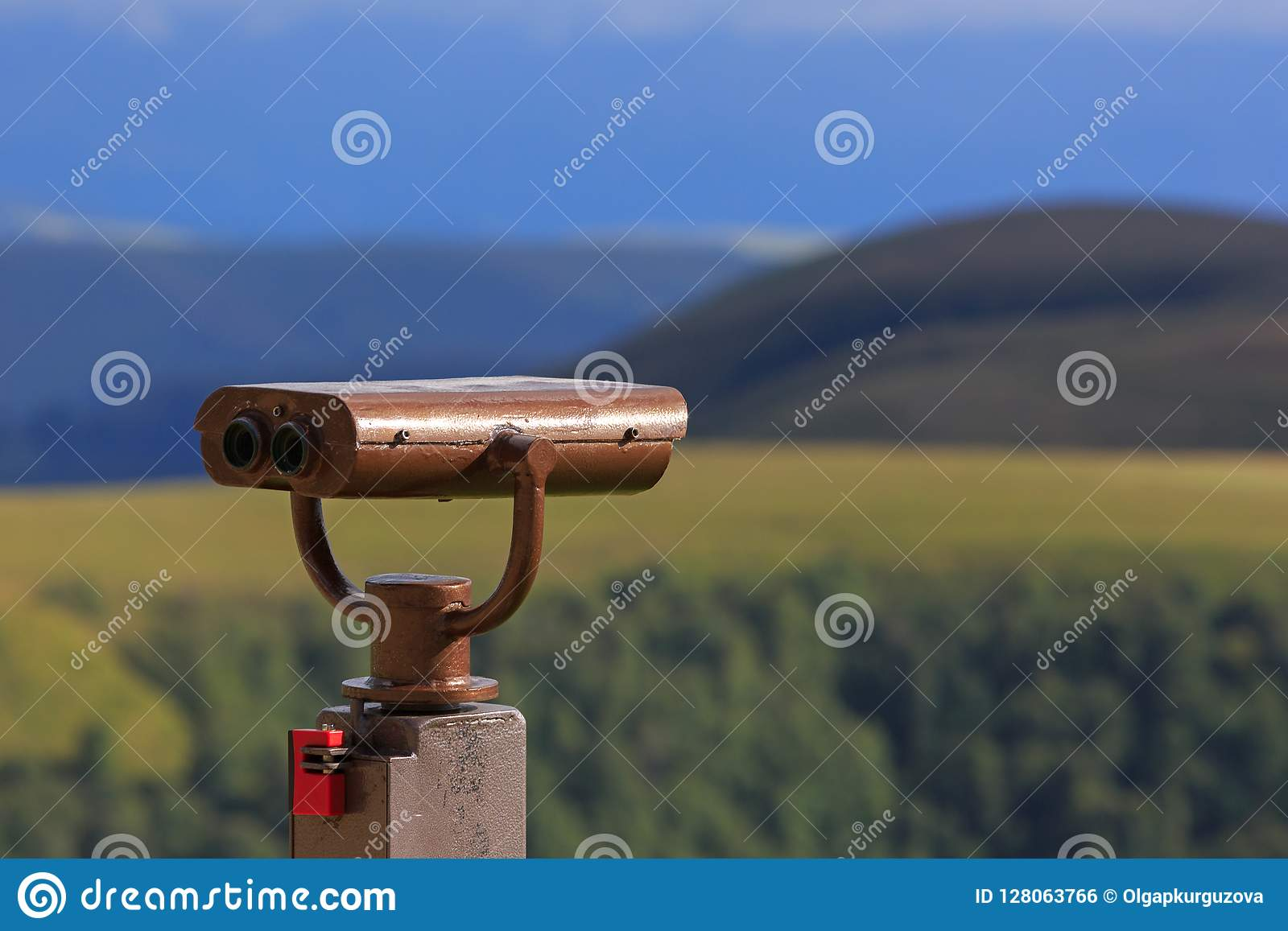 Binoculars on a viewing platform for observing flora, fauna