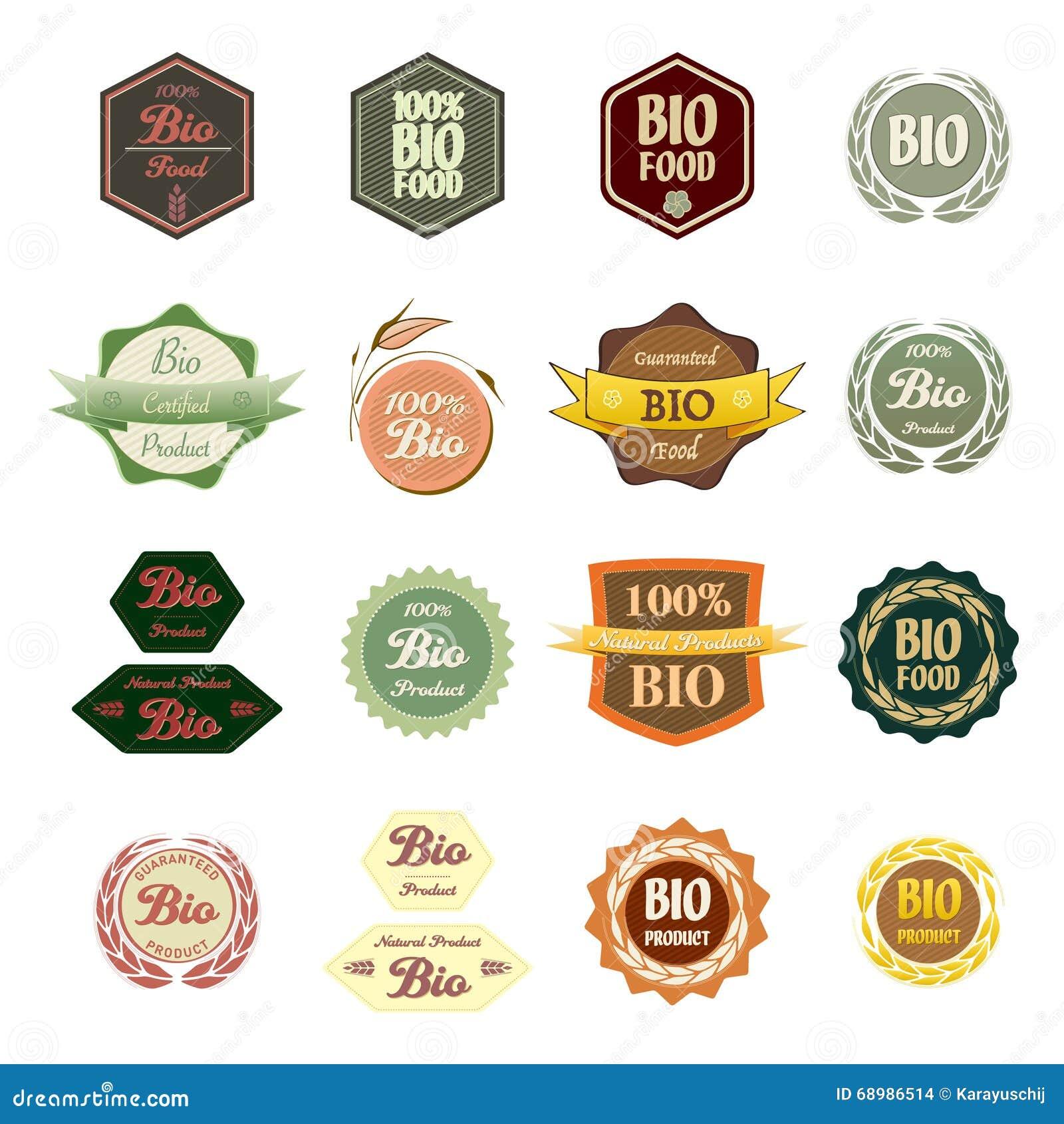 Bio comida de las diversas etiquetas