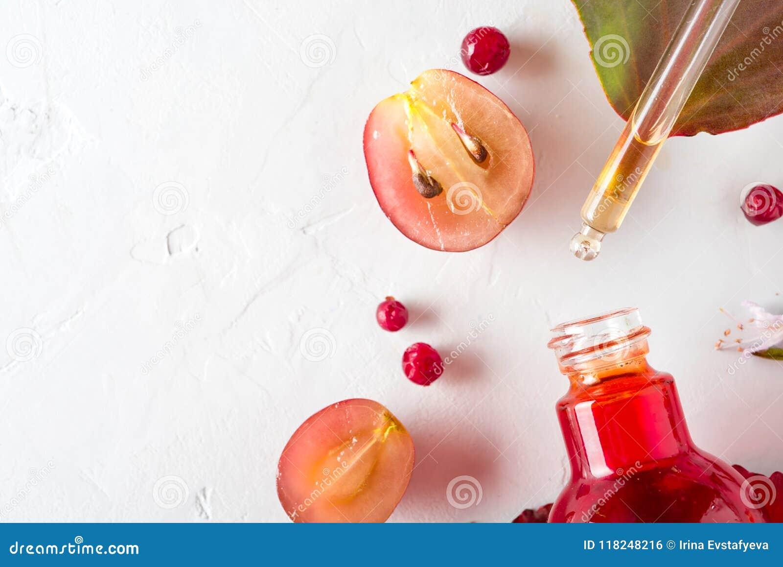 Bio cosméticos orgánicos con los ingredientes herbarios extracto, aceites de semilla de la uva, suero Copie el espacio, endecha d