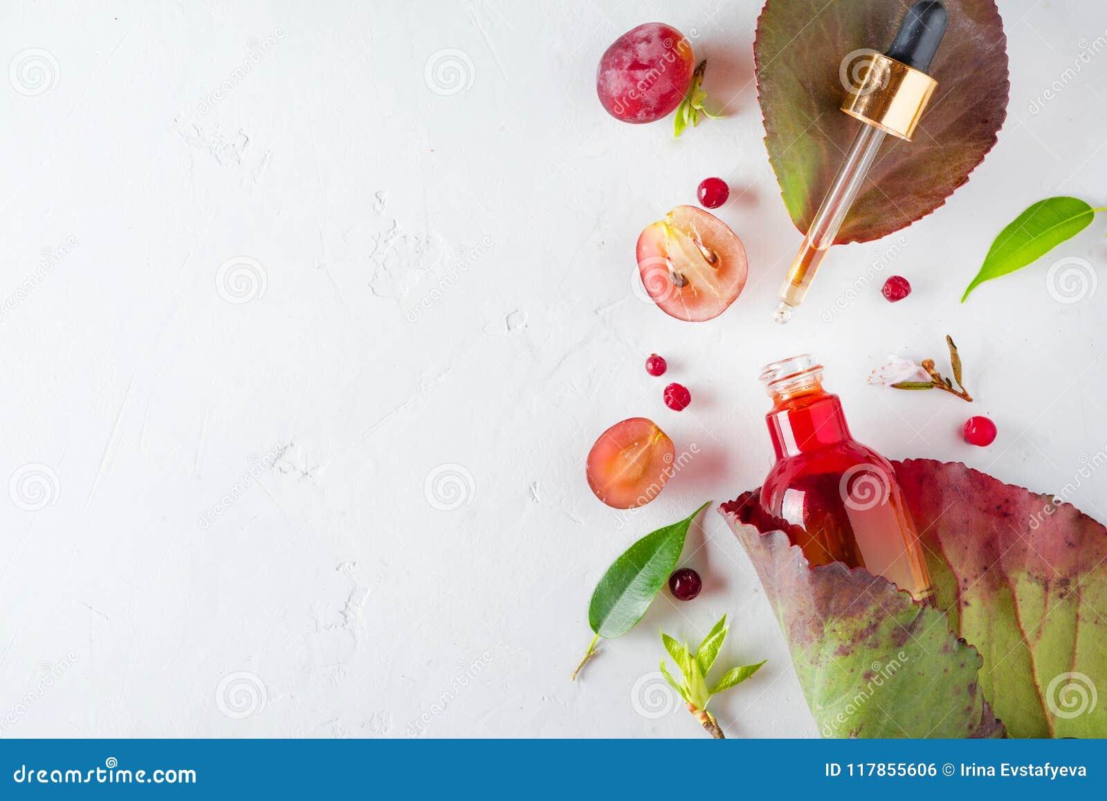 Bio- cosmetici organici con gli ingredienti di erbe estratto, oli di semi dell uva, siero Copi lo spazio, la disposizione del pia