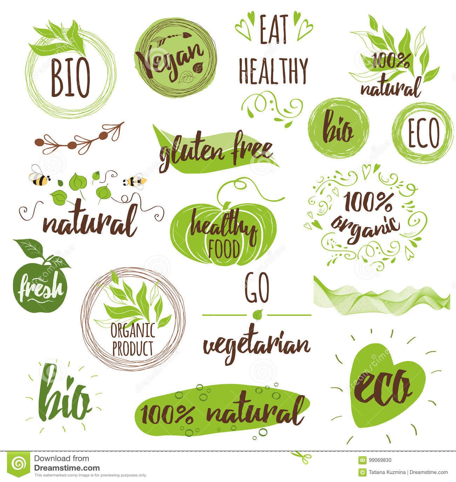 Bio, Ecology, Organic Logos, Icons, Labels, Tags. Hand ...