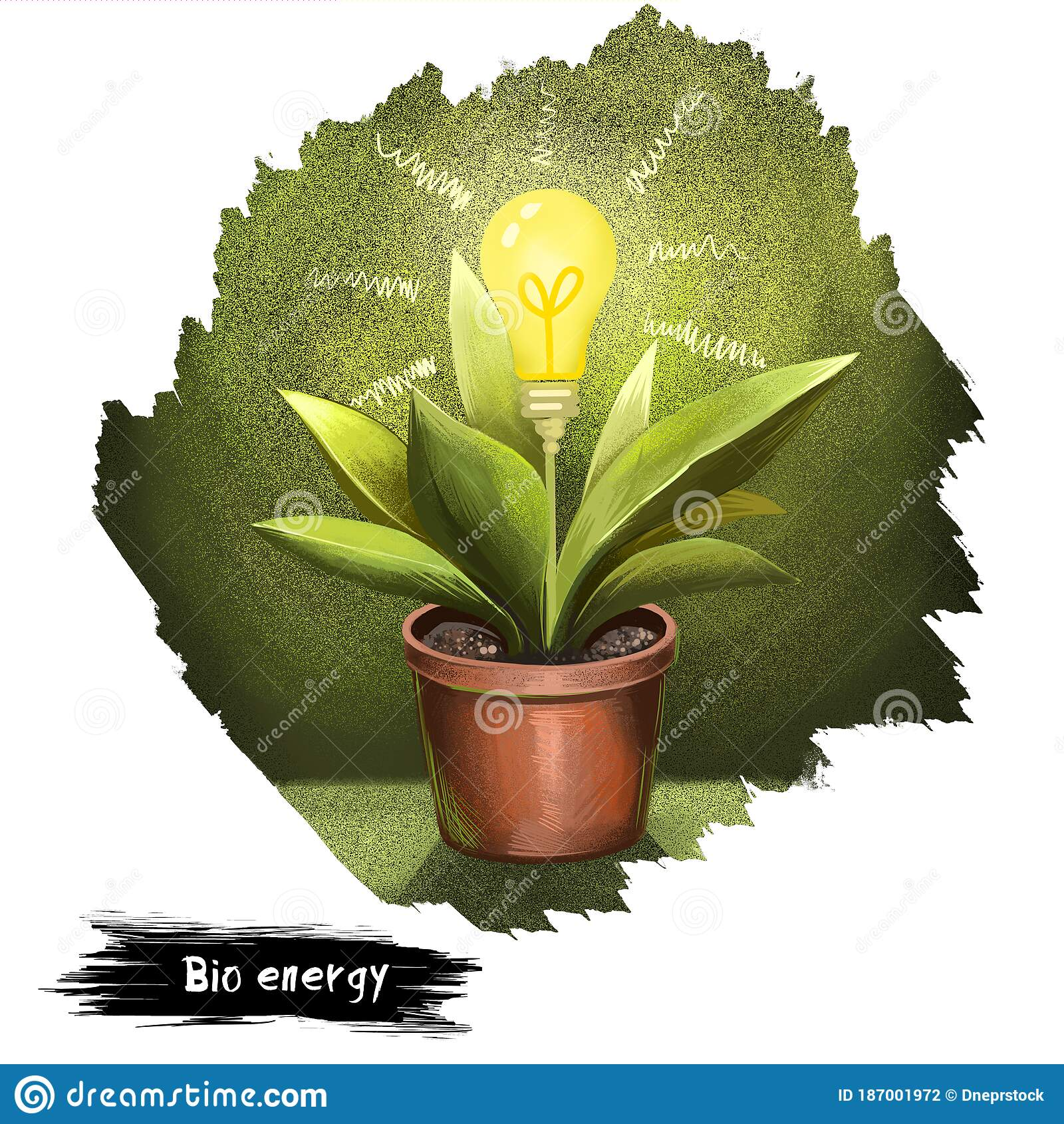 Bio Energy Digital Art Illustration Isolated On White Green Plant With Pot And Electric Bulb Except Of Flower Poster In Stock Illustration Illustration Of Modern Electric 187001972