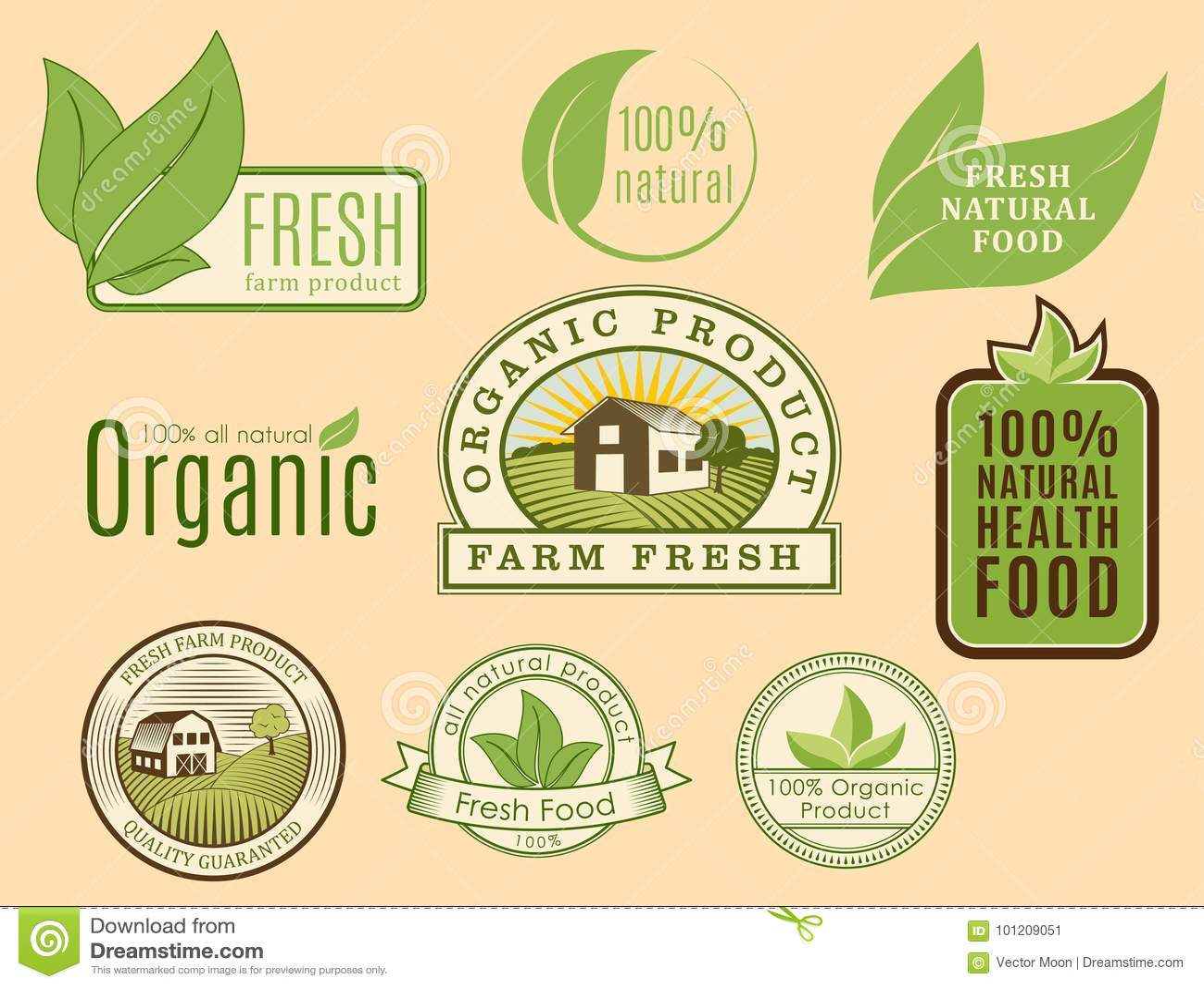 Bio Farm Organic Eco Healthy Food Templates And Vintage Vegan Green Color For Restaurant Menu Or Package Badge Vector Stock Vector Illustration Of Green Healthy 101209051