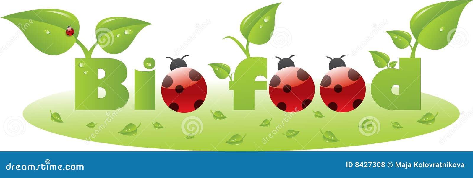 Bio food text caption with ladybugs