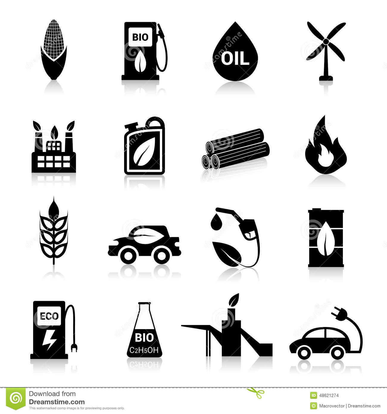bio fuel industry icons set royalty