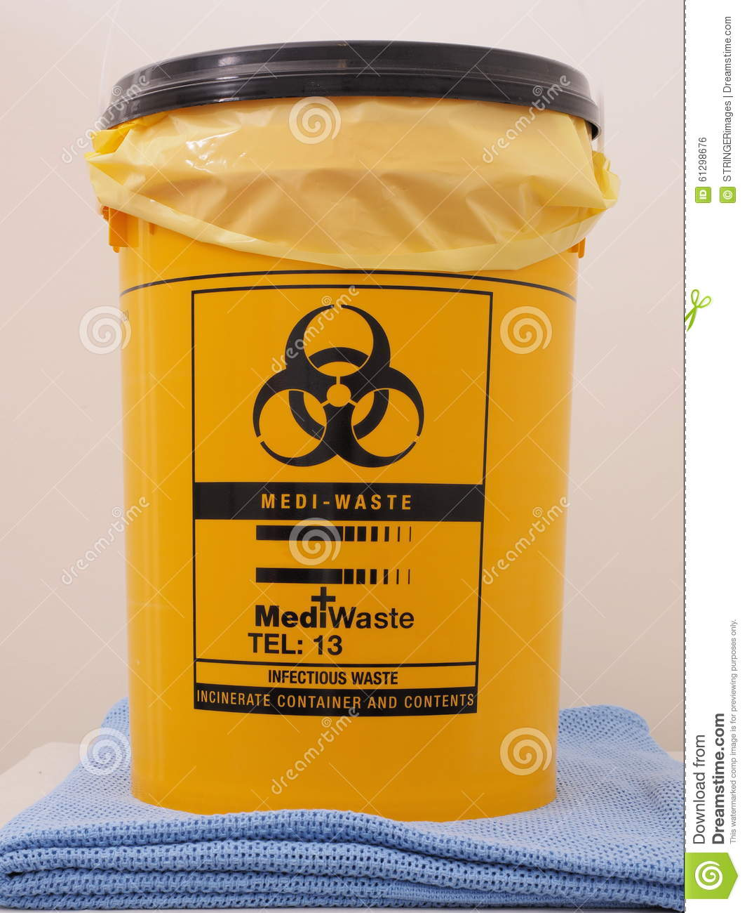Bio Hazard labled yellow specialist collection container