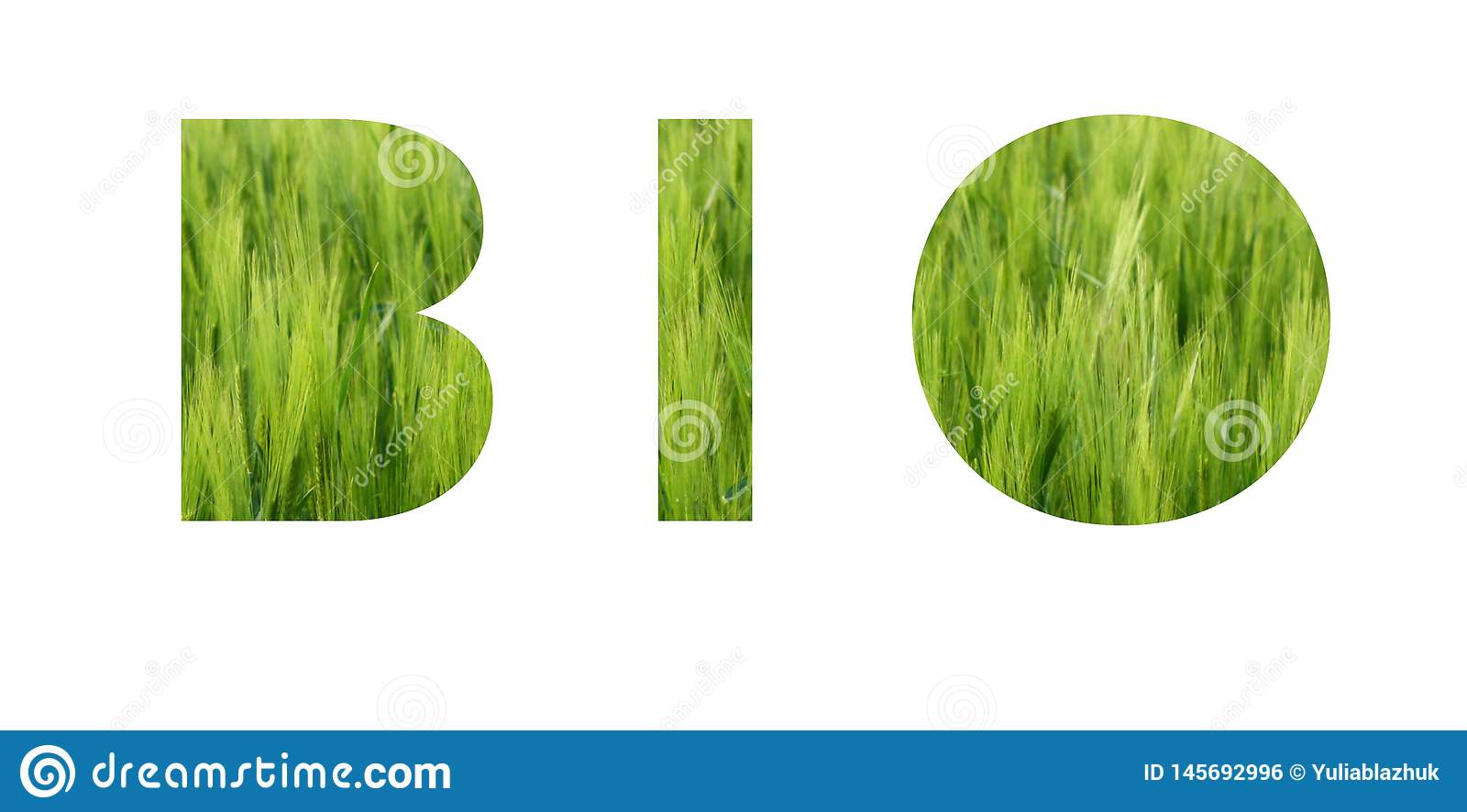 BIO lettering. Eco concept. Background of vivid green grass of meadow