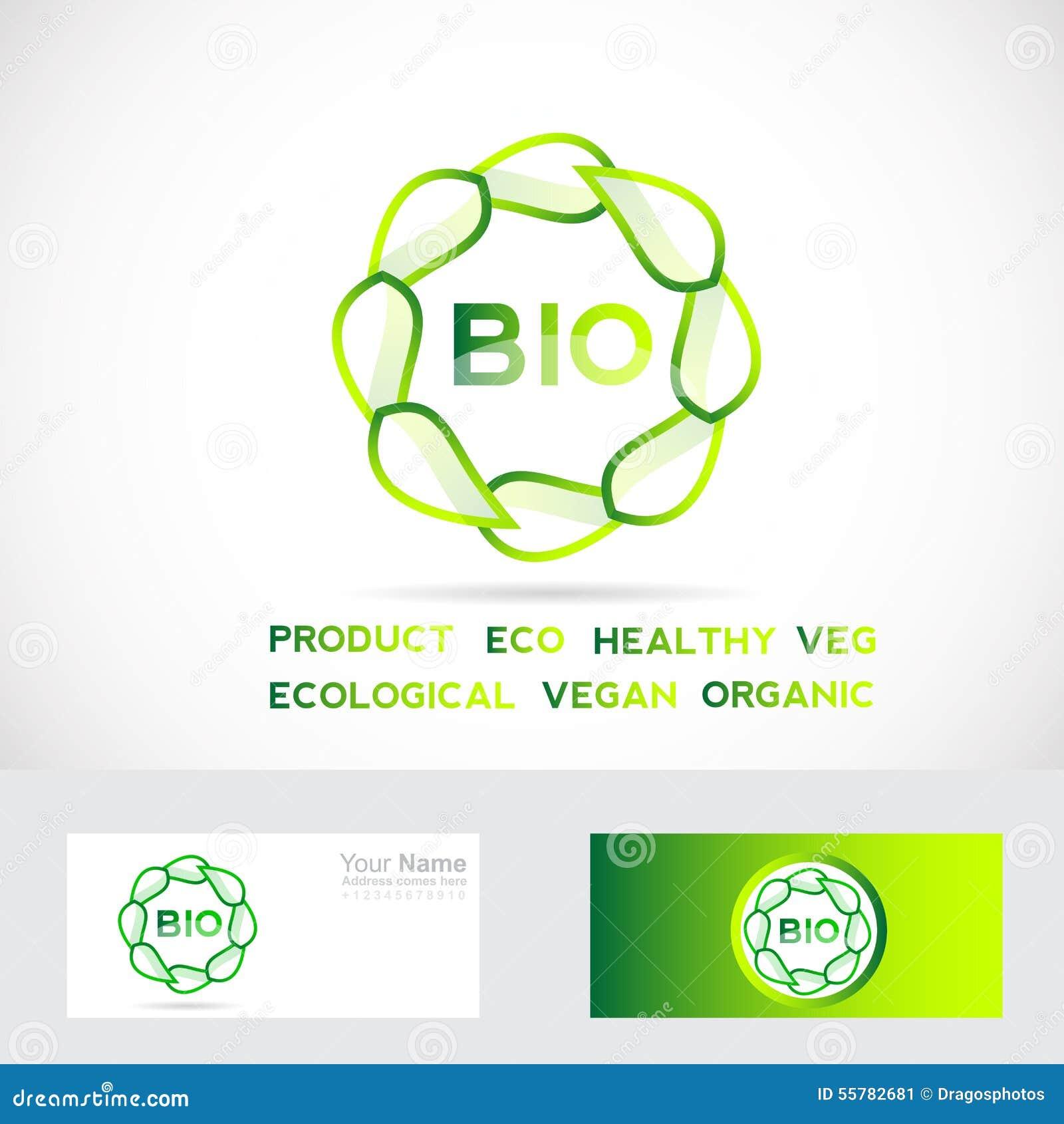 bio logo de cercle de feuilles illustration de vecteur