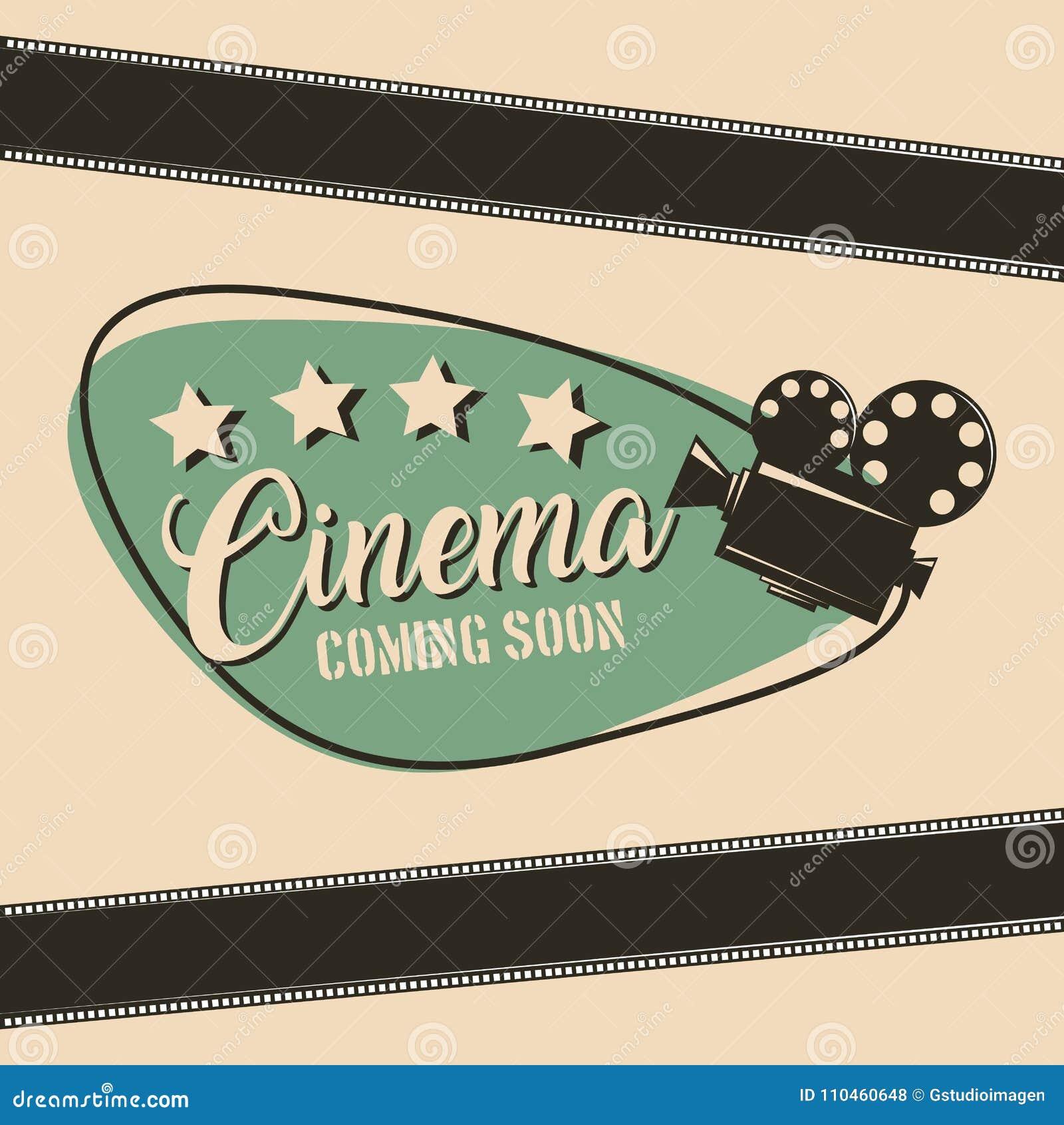 Bio som snart kommer affisch för remsa för filmfilmprojektor