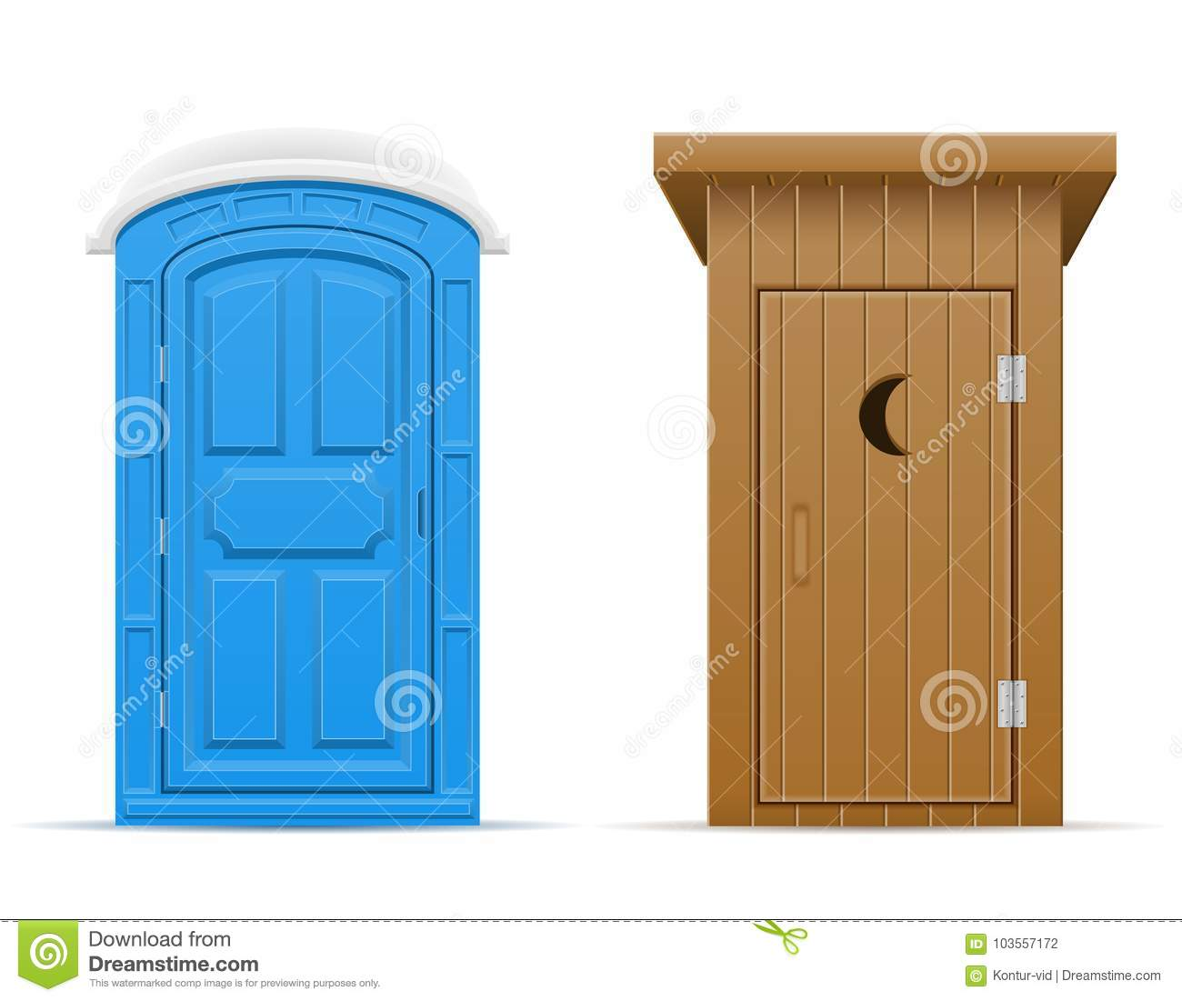 Download Bio And Wooden Outdoor Toilet Vector Illustration Stock Vector    Illustration Of Door, Lavatory